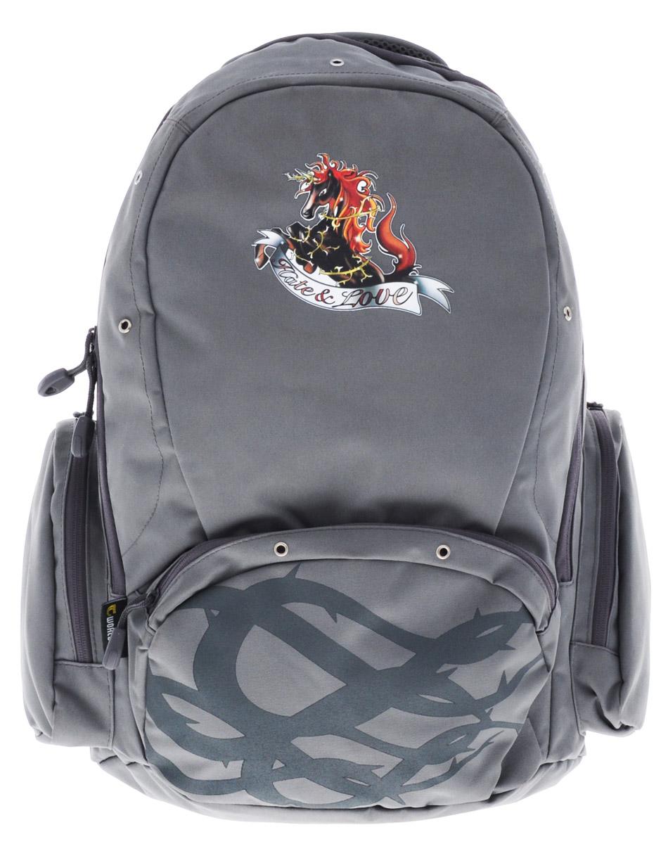 Tiger Enterprise Рюкзак детский Hate & LoveVS16-SB-001Удобный детский рюкзак Tiger Enterprise Hate & Love - это красивый и стильный рюкзак, который подойдет всем, кто хочет разнообразить свои школьные будни.Благодаря анатомической рельефной спинке, повторяющей контур спины и двум эргономичным плечевым ремням, длина которых регулируется, у ребенка не возникнут проблемы с позвоночником. Рюкзак выполнен из качественного и прочного материала.Рюкзак имеет одно основное отделение, которое закрывается на застежку-молнию с двумя бегунками. Внутри отделения расположен вместительный накладной карман на резинке и небольшой пришивной кармашек на молнии. По бокам рюкзака расположены два накладных кармана на молниях, на лицевой стороне - вместительный карман на молнии. Изделие оснащено удобной ручкой для переноски в руках и петлей для подвешивания.Детский рюкзак Tiger Enterprise Hate & Love станет незаменимым спутником вашего ребенка в походах за знаниями.