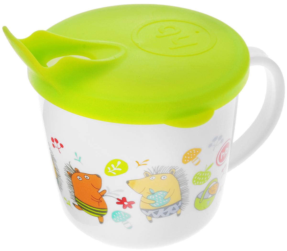 Happy Baby Чашка-поильник Ежики от 8 месяцев цвет салатовый
