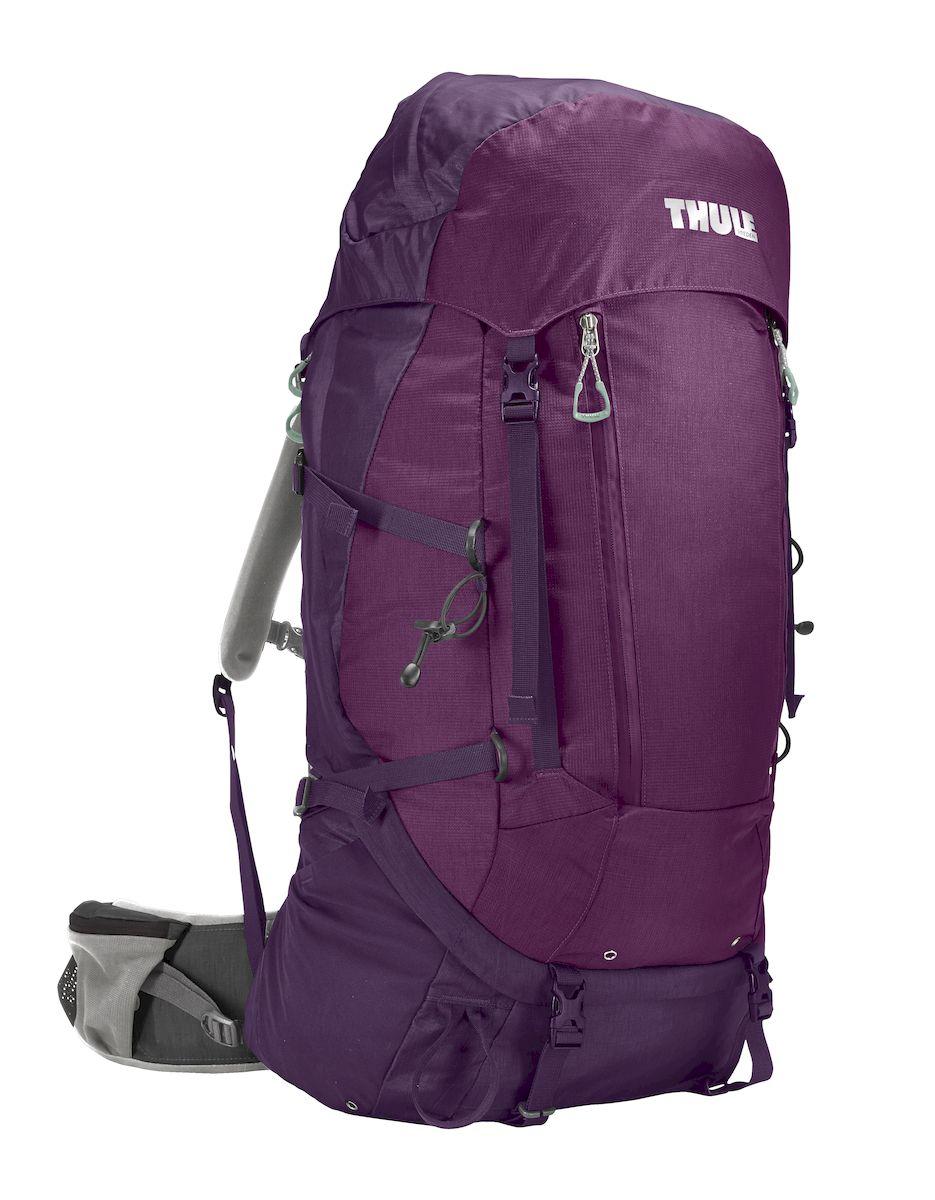 Рюкзак треккинговый женский Thule Guidepost, цвет: фиолетовый, 65 л800802Удобный треккинговый жеснкий рюкзак Thule Guidepost отличается настраиваемой системой крепления TransHub, обеспечивающей идеальную посадку, поворачивающимся набедренным ремнем, который позволяет рюкзаку повторять ваши движения, специальными наплечными и набедренными ремнями для женщин и крышкой, способной трансформироваться в дополнительный рюкзак, который поможет вам покорить любую вершину.Легкая регулировка ремней для торса на 15 см обеспечивает идеальную посадку, а наплечные ремни QuickFit позволяют выбрать из один из трех вариантов длины наплечных ремней. Система крепления Transhub с алюминиевой опорой и проволочным каркасом из пружинной стали позволяют перенести вес рюкзака на бедра, обеспечивая более удобную переноску. Поворачивающийся набедренный ремень позволяет рюкзаку повторять ваши движения, обеспечивая большую естественность передвижения и улучшенный баланс. Съемная крышка трансформируется в просторный рюкзак 24 л, позволяя сочетать два рюкзака в одном. Удобный доступ к содержимому рюкзака благодаря большой J-образной застежке на молнии на боковой панели. Воздухопроницаемая задняя панель обеспечивает поддержку в главных точках соприкосновения, но при этом позволяет воздуху циркулировать и не дает вам потеть. Два больших передних кармана на застежках-молниях предназначены для хранения часто используемых предметов. Удобное хранение треккинговых палок или ледоруба при помощи двух петель-креплений. Два кармана на набедренном ремне с застежками-молниями и эластичные боковые карманы позволяют хранить бутылки, еду и другие мелкие предметы. Конструкция, предназначенная для хранения воды, включает внешний карман для бутылки с водой и обеспечивает удобный доступ к ней.