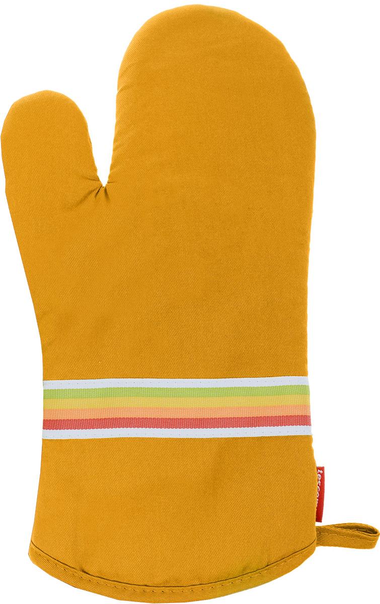 Рукавица-прихватка Tescoma Presto Tone, цвет: желтый, 33 х 18 см531-401Рукавица-прихватка Tescoma Presto Tone, изготовленная из 100% хлопка и термостойкого силикона, имеет яркий дизайн. Для простоты и удобства хранения, изделие оснащено петелькой для подвешивания и магнитом. Такая прихватка защитит ваши руки от высоких температур и предотвратит появление ожогов. Рекомендуется стирка при температуре 30°С. Размер изделия (ДхШ): 33 х 18 см.