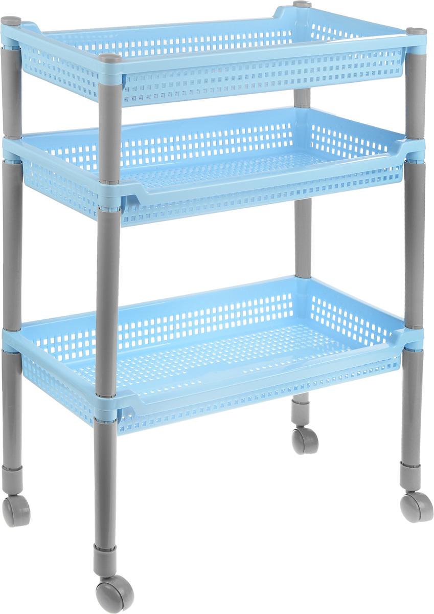 Этажерка Полимербыт Флер, 3 секции, цвет: голубой, 47,5 х 22,5 х 63 смС383Этажерка Флер с 3 узкими полками выполнена из пластика и предназначена для хранения различных предметов на кухне или в ванной. На кухне в ней можно хранить овощи и фрукты, в ванной - различные ванные принадлежности. Для удобства перемещения этажерка оснащена колесиками. Очень удобная и компактная, но в тоже время вместительная, она прекрасно впишется в пространство любого помещения. Этажерка придется особенно кстати, если у вас небольшая ванная или кухня: она займет минимум пространства. Легко собирается и разбирается. Размер корзинки (ДхШхВ): 47,5 х 22,5 х 6 см.