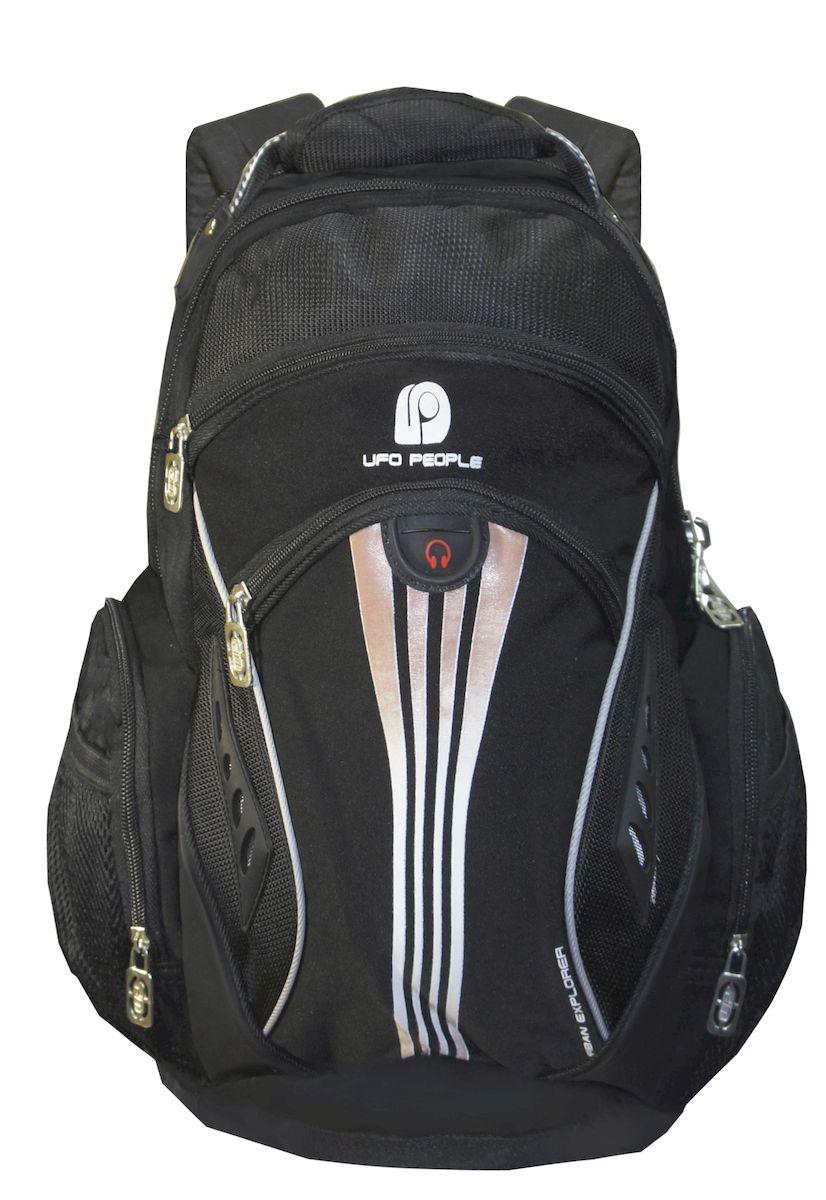 Рюкзак городской UFO people, цвет: черный. 22 л. 11-9611-96Спинка с анатомическими вставками. Плотное дублированное дно. Усиленные лямки. Нагрудный фиксатор. Светоотражающие элементы. 3 основных отделения