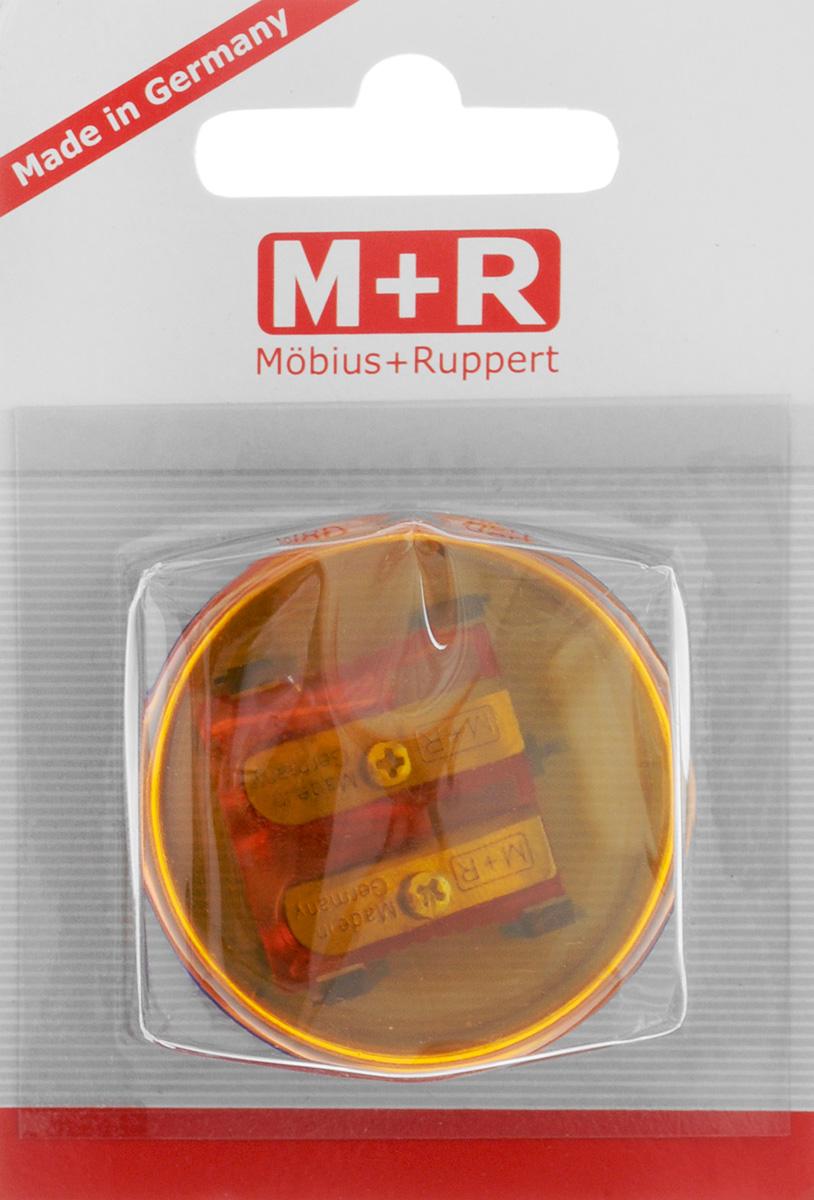 M+R Точилка Top Duo цвет оранжевый синийFS-54103Точилка M+R Top Duo выполнена из прочного пластика.В точилке имеются два отверстия для карандашей различного диаметра. Точилка подходит для цветных и чернографитных карандашей. При повороте пластикового контейнера, отверстия закрываются.Прозрачный контейнер для сбора стружки позволяет визуально контролировать уровень заполнения и вовремя производить очистку.