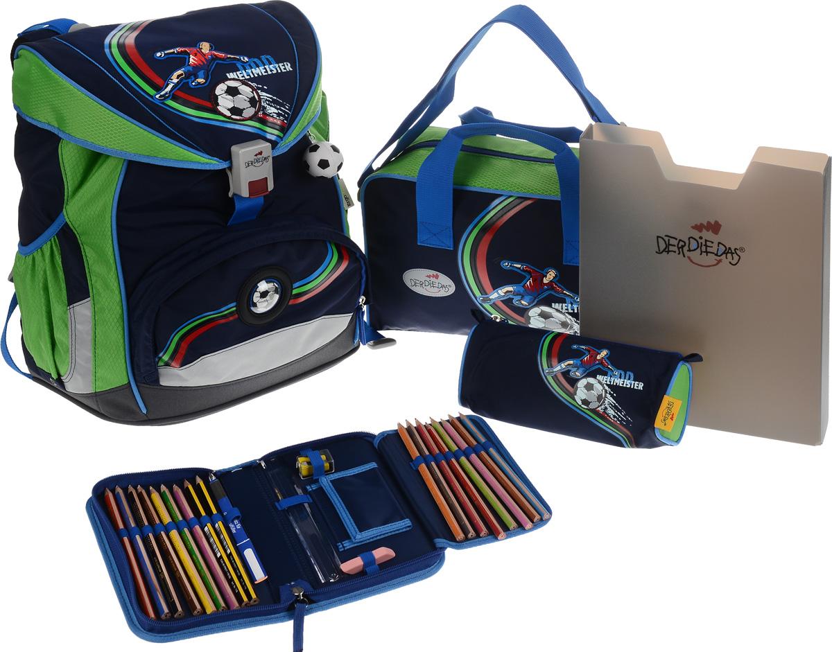 DerDieDas Ранец школьный Футболист с наполнением цвет синий зеленый 5 предметовVS16-SB-001Школьные ранцы DerDieDas - немецкий стандарт качества товаров для учеников. Ранец состоит из одного вместительного отделения, которое закрывается на шнурок и клапан с удобным пластиковым замком. Внутри ранец имеет сквозную перегородку для тетрадей, или учебников и бейджик в пластиковом кармане на отдельном шнурке. Снаружи рюкзак декорирован объемными нашивками в виде футболиста и мячей. Лицевая часть дополнена накладным карманом на застежке-молнии. По бокам расположены два открытых кармана на резинке, имеются светоотражающие вставки. Рюкзак дополнен брелоком в виде футбольного мяча. Ранец имеет ортопедическую спинку со специальными мягкими подушечками и специальные прорези, которые позволяют изменять расположение лямок на спинке ранца (поднимать или опускать их) в зависимости от роста ребенка. Ранец укомплектован ремнями: нагрудным и поясным. Впитывающий влагу и пропускающий воздух материал на спинке и внутренней стороне лямок позволяет спине дышать. Полиэстер повышенной прочности не подвержен истиранию и не рвется, ранец отлично моется как снаружи, так и внутри, а яркие не выцветающие краски гипоаллергенны. Изделие имеет водонепроницаемую внутреннюю поверхность и пластиковое покрытие, которое защищает дно ранца от влаги и загрязнений. Ранец поставляется в комплекте со спортивной сумкой, пеналом с наполнением, пеналом без наполнения и папкой-боксом, выполненными в одном дизайне. Папка-бокс, изготовленная из пластика, удобна и долговечна. Размер папки: 31х 24,5х5. Спортивная сумка, закрывается на молнию, имеет одно отделение с карманом на липучке. Дополнена удобными ручками и регулируемым наплечным ремнем. Размер сумки: 34х22х11см. Пенал с наполнением, на молнии, с дополнительным клапаном для карандашей и кармашком для денег на липучке. Содержание пенала: 17 цветных карандашей, ластик. Линейка, точилка. Размер пенала: 20х11,5х3 см. Пенал без наполнения, с одним отделением на мол