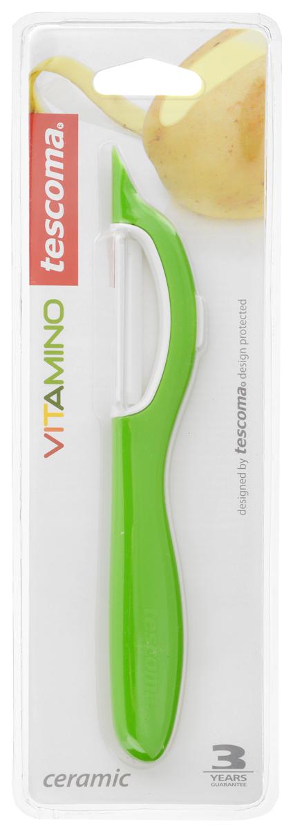 Овощечистка Tescoma Vitamino, с продольным керамическим лезвием, цвет: зеленый, длина 19 см642710_зеленыйОвощечистка с продольным лезвием Tescoma Vitamino изготовлена из прочного пластика, лезвие - из высококачественной керамики. Отлично подходит для быстрой и легкой очистки моркови и других овощей. Также можно использовать для нарезки тонкими ломтиками моркови, сельдерея, редиса. Можно мыть в посудомоечной машине.