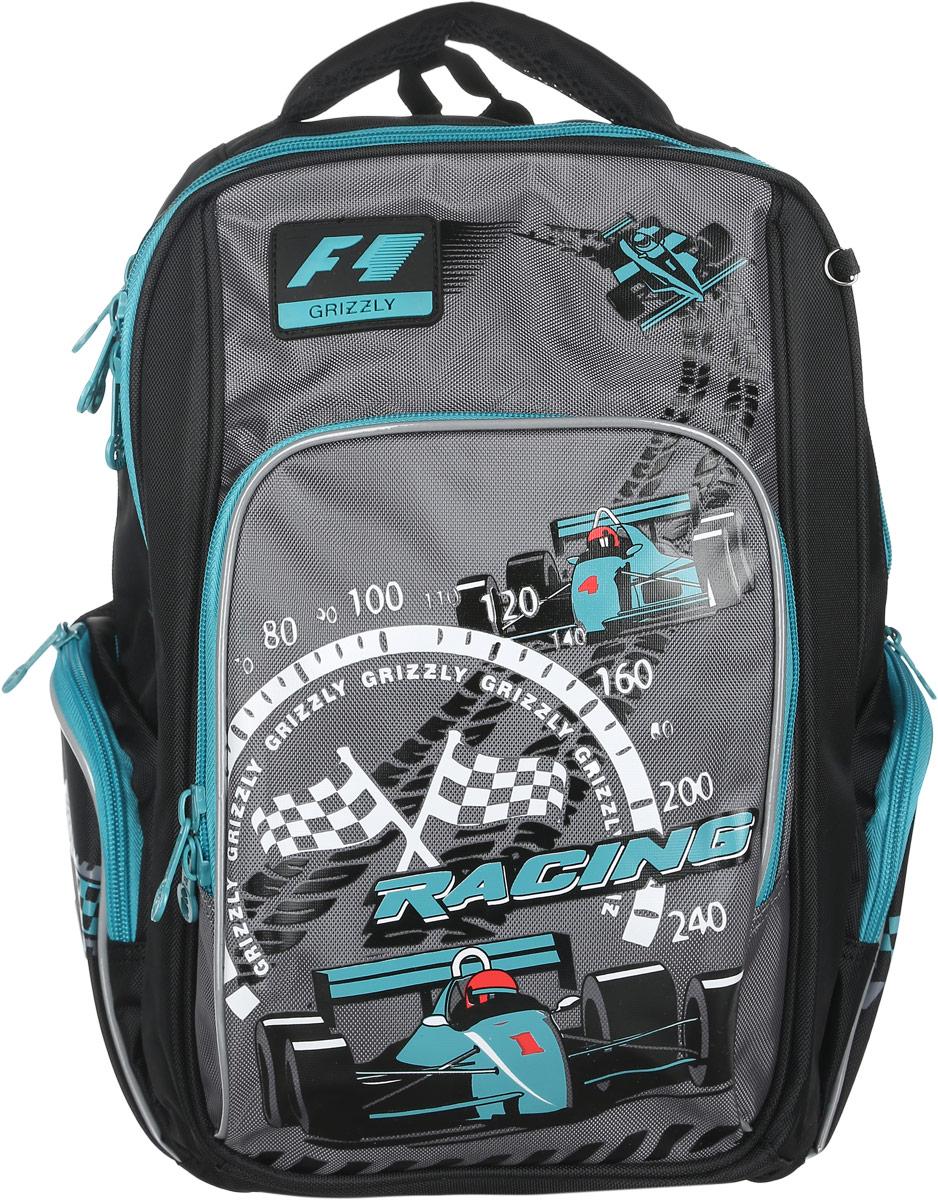 Grizzly Рюкзак детский Racing цвет черный бирюзовыйRB-630-1/2Детский рюкзак Grizzly Racing сочетает в себе современный дизайн, функциональность и долговечность. Рюкзак выполнен из плотного материала и оформлен оригинальным изображением. Рюкзак имеет два основных отделения на застежках-молниях с двумя бегунками. Отделения никаких карманов не содержат. На лицевой стороне рюкзака располагается накладной карман на молнии, внутри которого находится открытый карман-сетка. По бокам рюкзака расположены два кармана на застежках-молниях. Рюкзак оснащен петлей для подвешивания и удобной текстильной ручкой для переноски в руке. Широкие регулируемые лямки и сетчатые мягкие вставки на спинке рюкзака предохранят мышцы спины ребенка от перенапряжения при длительном ношении. Светоотражающие вставки существенно повышают безопасность ребенка на дороге. Этот рюкзак можно использовать для повседневных прогулок, учебы, отдыха и спорта, а также как элемент вашего имиджа. Рекомендуемый возраст: от 11 лет.