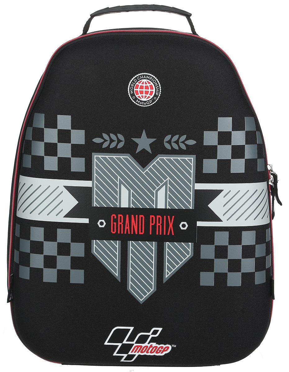 MotoGP Рюкзак детский Grand Prix цвет черный серыйMGCB-UT1-E150Детский рюкзак MotoGP Grand Prix - это красивый и удобный рюкзак, который подойдет всем, кто хочет разнообразить свои школьные будни. Рюкзак выполнен из плотного и безопасного материала. Рюкзак имеет одно основное вместительное отделение на застежке-молнии. Внутри отделения расположены два мягких разделителя для тетрадей или учебников. На одном разделителе находится открытый кармашек под мобильный телефон. Также в отделении находятся два сетчатых кармана - открытый и пришивной на молнии. Рюкзак оснащен удобной и прочной ручкой для переноски. Широкие лямки можно регулировать по длине. Рюкзак снабжен светоотражающими вставками. Многофункциональный детский рюкзак станет незаменимым спутником вашего ребенка.