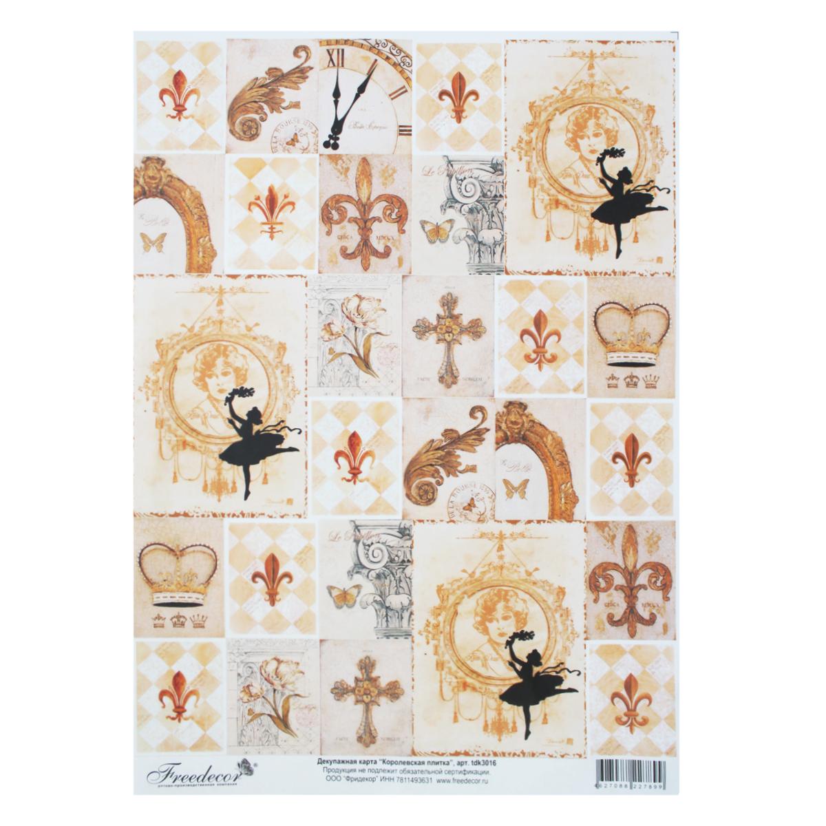 Декупажная карта Freedecor Королевская плитка, А4, 40 гр./м.кв. Dk 3016697136_3016КоролевскаяплиткаДекупажные карты Фридекор отличаются оригинальными, стильными дизайнами и прекрасным качеством. Печать декупажных карт происходит на бумаге плотностью 80 гр/м2.