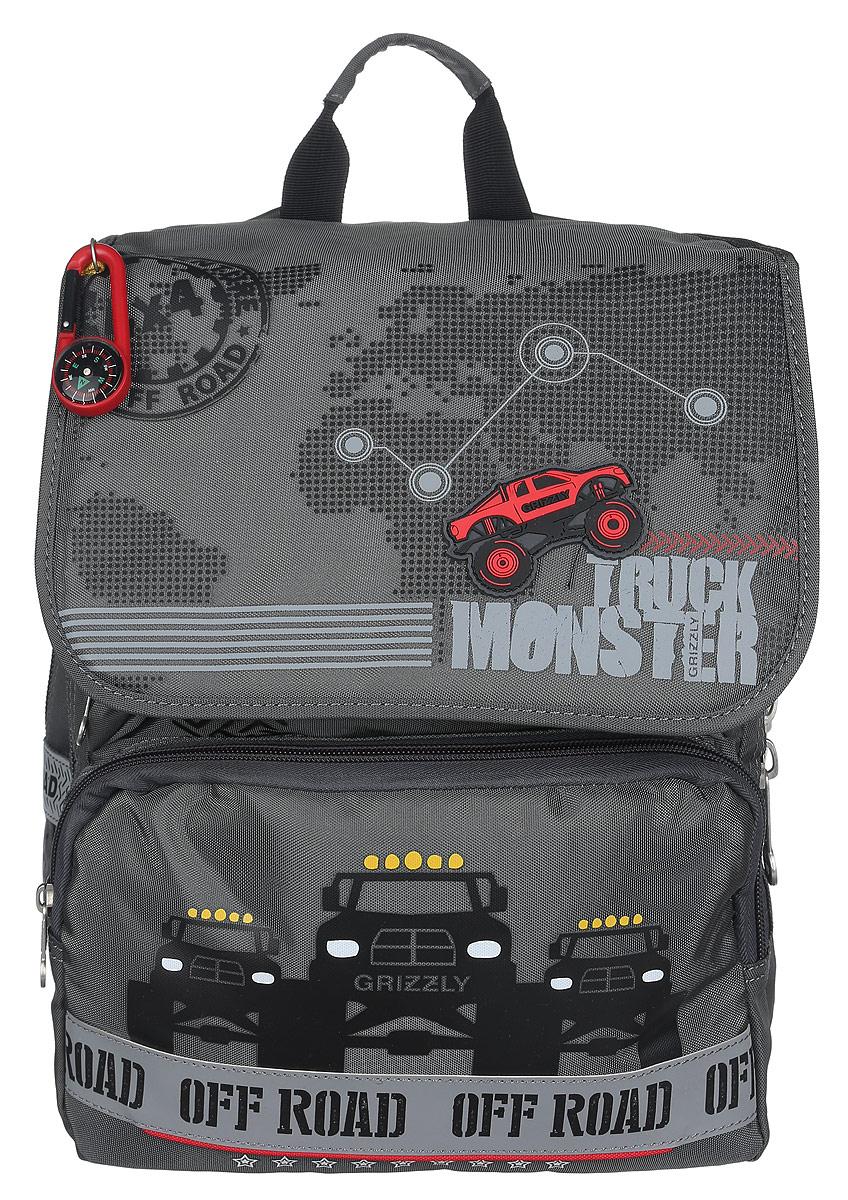 Grizzly Рюкзак детский Trusk MonsterRA-671-4/1Детский рюкзак Grizzly Trusk Monster подойдет всем, кто хочет разнообразить свои школьные будни. Рюкзак выполнен из прочного материала и оформлен оригинальным изображением и брелоком-компасом. Рюкзак содержит два вместительных отделения, закрывающихся на застежки-молнии и клапаном на липучках. На внутренней части клапана находится прозрачный пластиковый кармашек, в который можно поместить расписание занятий. Внутри первого отделения находятся карман с сеткой на молнии и три небольших открытых кармашка. Во втором отделении имеется карман-сетка на резинке и пришивной карман на молнии. Дно рюкзака можно сделать жестким, разложив специальную панель с картонной вставкой, что повышает сохранность содержимого рюкзака и способствует правильному распределению нагрузки. На лицевой стороне рюкзака расположены два накладных кармана на молнии. Бегунки на изделии дополнены удобными металлическими держателями с логотипом Grizzly. Плечевые лямки анатомической формы...
