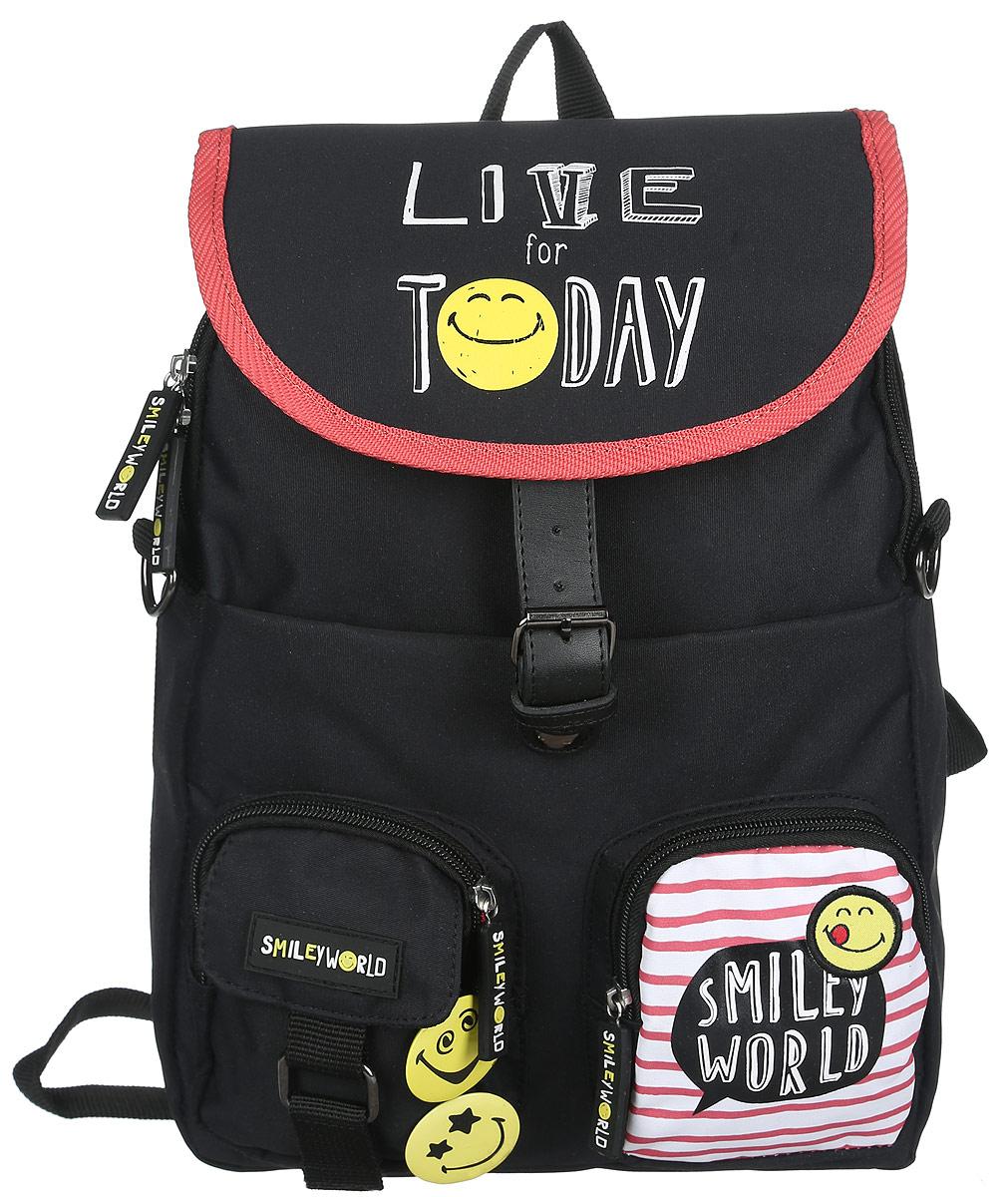 Proff Рюкзак детский Live for TodaySG16-BP-15-01Детский рюкзак Proff Live for Today - это красивый и удобный рюкзак, который подойдет всем, кто хочет разнообразить свои школьные будни. Внешние поверхности рюкзака, подкладка выполнены из полиэстера, уплотнители - из поролона, элементы отделки - из пластика, металла, ПВХ. На лицевой стороне рюкзак декорирован двумя значками в виде смайликов. Рюкзак имеет одно основное отделение, закрывающееся на молнию, а сверху клапаном на магнитную защелку. Внутри отделения нет карманов. На лицевой стороне расположены три кармана, два из которых на молниях, один на застежке-липучке. Под клапаном на лицевой стороне находится вместительный карман на молнии, внутри которого располагаются четыре кармашка под мобильный телефон и канцелярские принадлежности, лента с карабином для ключей. Рюкзак оснащен текстильной ручкой для переноски в руке и подвешивания. Лямки рюкзака можно регулировать по длине. Многофункциональный детский рюкзак станет незаменимым спутником вашего ребенка.
