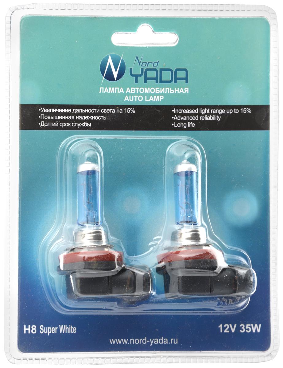 Лампа галогеновая Nord Yada H8, 12V, 35W, 2 шт902555Галогеновые лампы Nord Yada H8 - источники света, у которых светящим элементом является вольфрамовая спираль. У ламп есть большой запас срока службы. Способны выдержать большое количество включений и выключений. Питание: 12 В. Номинальная мощность: 35 Вт. В комплекте 2 лампы.