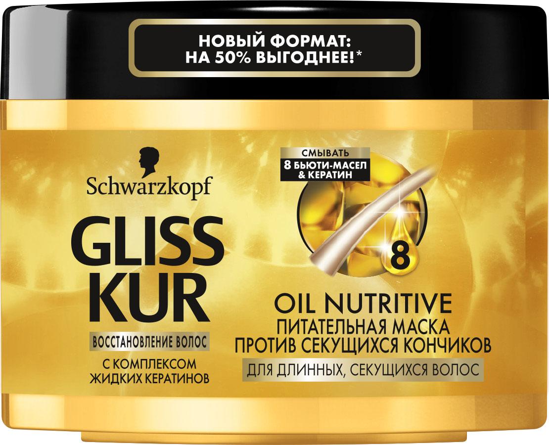 Gliss Kur Маска-уход Oil Nutritive, 300 млMP59.4DЗащита от сечения и блеск для длинных секущихся волос Питательный уход с маслами: мгновенная маска OIL NUTRITIVE уменьшает сечение волос. Длинные, секущиеся волосы вновь приобретают здоровый блеск и эластичность. Особая формула с 8 бьюти-маслами питает волосы и защищает кончики от сечения. Благодаря жидким кератинам формула восстанавливает даже сильно поврежденные участки волос. Эффективность уже после 30 СЕКУНД применения В 10 раз БОЛЬШЕ ЗАЩИТЫ против секущихся кончиков по сравнению с необработанными волосами