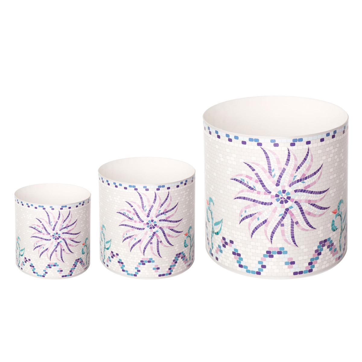 Набор горшков для цветов Miolla Мозаика белая со скрытым поддоном, 2 предметаSMG-SET8Набор горшочков Miolla c 3D рисунком. Хорошо будут смотреться как основа для топиариев и флористических композиций. А так же замечательно для комнатных цветов. Со скрытым поддоном.
