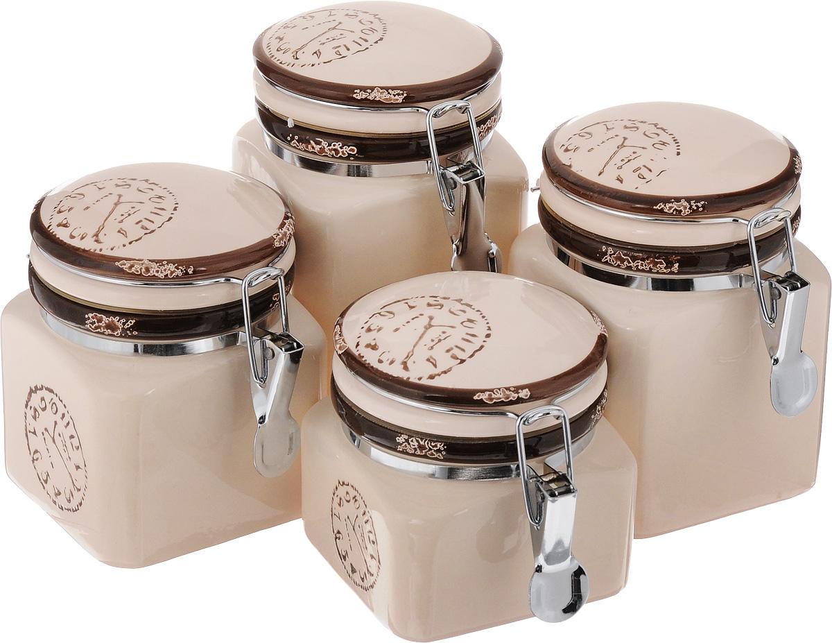 Набор банок для сыпучих продуктов Unistock Trade Часы, 4 штVT-1520(SR)Набор Unistock Trade Часы состоит из четырех банок разного объема, предназначенных для хранения сыпучих продуктов. Банки выполнены из высококачественной керамики и декорированы оригинальным рисунком. Банки прекрасно подходят для круп, орехов, сухофруктов, чая, кофе, сахара и других сыпучих продуктов. Герметичное закрытие позволяет сохранить продукты свежими. Оригинальный необычный дизайн стильно дополнит интерьер кухни. Такой набор станет желанным подарком для любой хозяйки. Объем банок: 400 мл, 600 мл, 700 мл, 900 мл. Размер банок: 9,5 х 9,5 х 10,5 см, 9,5 х 9,5 х 12,5 см, 9,5 х 9,5 х 14 см, 9,5 х 9,5 х 15,5 см.