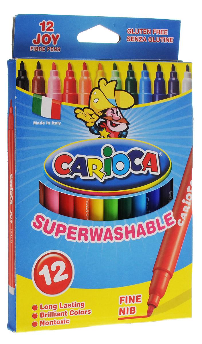 Carioca Набор фломастеров Joy 12 цветовFS-00897Набор Carioca Joy состоит из 12 суперсмываемых разноцветных фломастеров, которые отлично подойдут и для школьных занятий, и просто для рисования.Чернила на водной основе легко смываются с кожи и отстирываются с большинства тканей. Фломастеры рисуют яркими насыщенными цветами.Корпус фломастеров изготовлен из прочного материала, а колпачок имеет специальные прорези, что обеспечивает вентилирование и еще больше увеличивает срок службы чернил и предотвращает их преждевременное высыхание.Рекомендуемый возраст от 3-х лет.