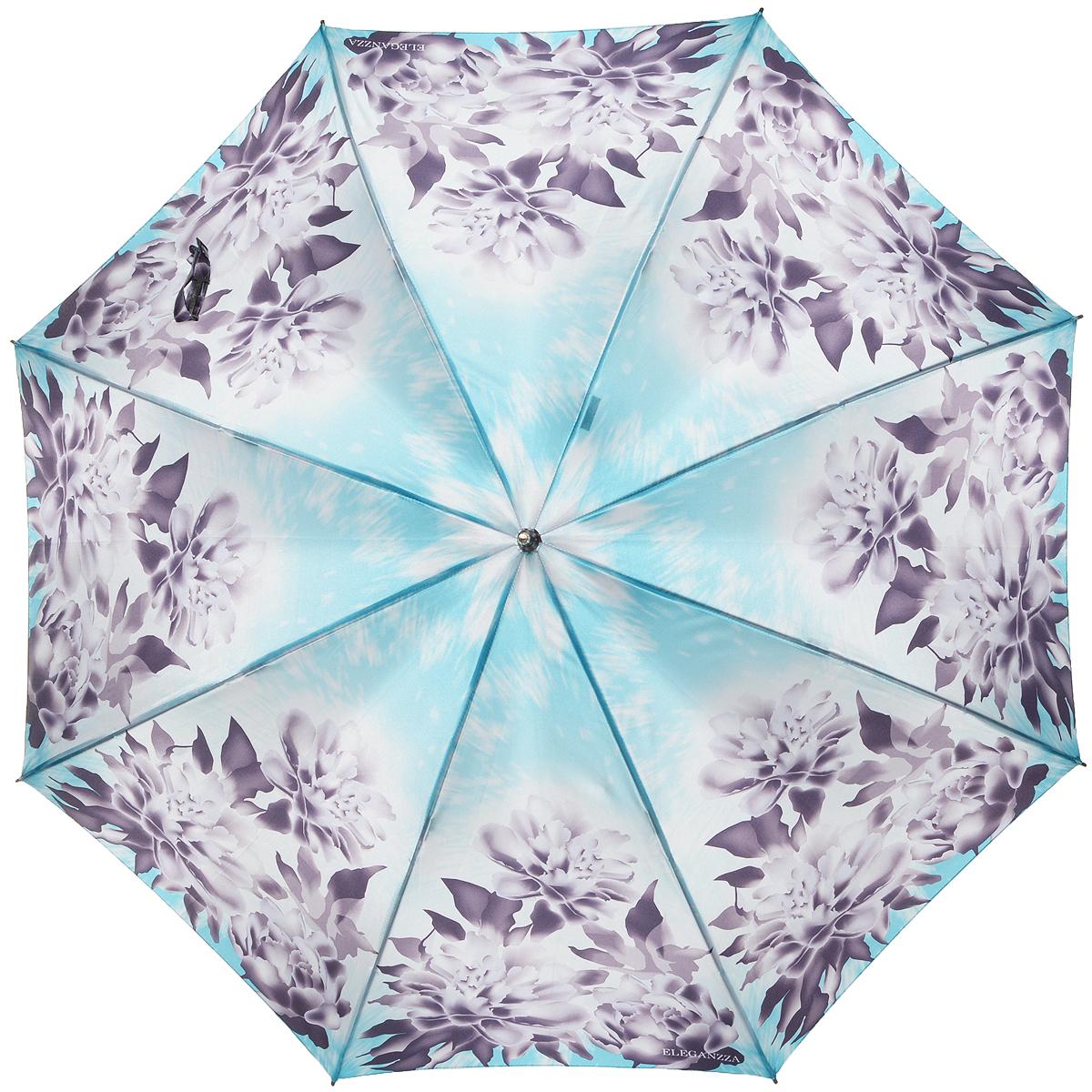 Зонт-трость женский Eleganzza, механика, цвет: голубой, тауп. T-06-0237T-06-0237Элегантный женский зонт-трость Eleganzza не оставит вас незамеченной. Изделие оформлено оригинальным принтом в виде цветов. Зонт состоит из восьми спиц и стержня, изготовленных из стали и фибергласса. Купол выполнен из качественного полиэстера и сатина, которые не пропускают воду. Зонт дополнен удобной ручкой из акрила, которая имеет форму крючка. Также зонт имеет заостренный наконечник, который устраняет попадание воды на стержень и уберегает зонт от повреждений. Изделие имеет полуавтоматический механизм сложения: купол открывается нажатием кнопки на ручке, а складывается вручную до характерного щелчка. Оригинальный и практичный аксессуар даже в ненастную погоду позволит вам оставаться женственной и привлекательной.