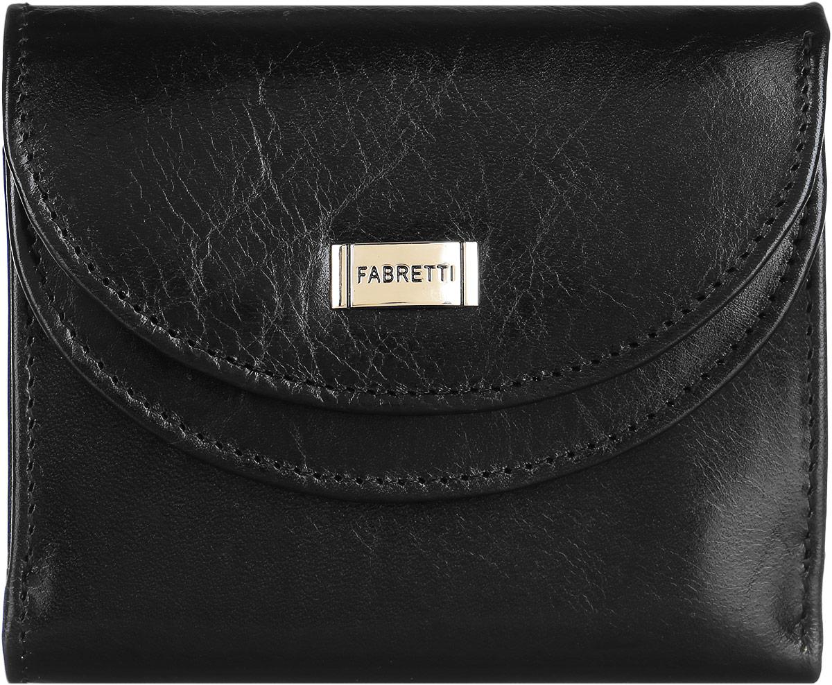 Кошелек женский Fabretti, цвет: черный. FA007-black/1FA007-black/1Стильный женский кошелек от Fabretti выполнен из натуральной гладкой кожи. Аккуратная фурнитура делает дизайн утонченным и изысканным. На лицевой стороне расположен объемный карман для мелочи, который содержит два кармана для визиток и карт. Карман закрывается с помощью клапана с кнопкой. Внутри расположены два вместительных отделения для купюр. Изделие закрывается клапаном на кнопку. Кошелек упакован в плотную коробку с логотипом фирмы. Такой элегантный и оригинальный аксессуар станет неотъемлемой частью вашего образа благодаря своей практичности.