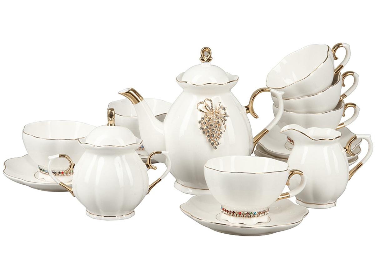 Чайный набор Rosenberg, 15 предметов. RCE-115002-1577.858@24556Чайный набор Rosenberg 15 предметов станет прекрасным укарашением Вашего стола и создаст атмосферу комфорта и уюта. В набор входит: 6 чашек (175мл) с блюдцами, чайник (1000мл), молочник (250мл), сахарница (300г).