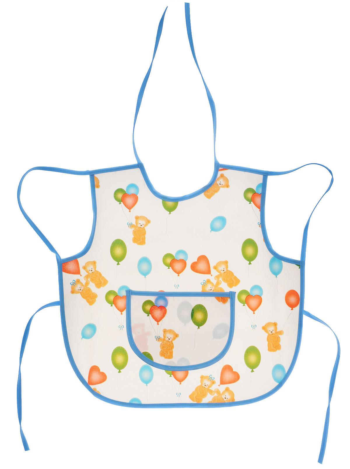 Колорит Фартук защитный Мишки с шариками цвет белый голубой 36 х 36 см72523WDФартук Колорит Мишки с шариками с непромокаемым слоем защитит одежду малыша во время кормления и освободит родителей от дополнительных хлопот.Фартук на завязках - выбор практичных мамочек, так как им можно пользоваться более длительное время. Пока ваш малыш растет, благодаря завязкам вы сможете легко контролировать длину изделия и регулировать размер горловины. Фартук изготовлен из клеенки подкладной с ПВХ покрытием и дополнен широким карманом. Лицевая сторона оформлена забавным изображением.Материал: клеенка, ПВХ.