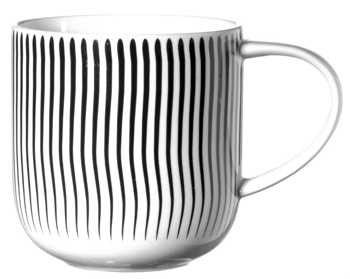 Чашка Asa Selection Coppa. Волны, 400 мл, цвет: черный, белый. 19103/01419103/014Чашка COPPA, волны. Объем: 0,4 литра. Материал: фарфор. Цвет: черно-белый.