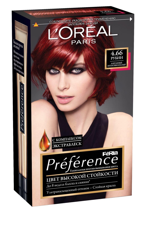 LOreal Paris Стойкая краска для волос Preference Feria, оттенок, 4.66 Рубин4605845001470Краска для волос Лореаль Париж Преферанс - премиальное качество окрашивания! Она создана ведущими экспертами лабораторий Лореаль Париж в сотрудничестве с профессиональным колористом Кристофом Робином. В результате исследований был разработан уникальный состав краски, основанный на более объемных красящих пигментах. Стойкая краска способна дольше удерживаться в структуре волос, создавая неповторимый яркий цвет, устойчивый к вымыванию и возникновению тусклости. Комплекс Экстраблеск добавит блеска насыщенному цвету волос. Красивые шелковые волосы с насыщенным цветом на протяжении 8 недель после окрашивания! В состав упаковки входит: флакон гель-краски (60 мл), флакон-аппликатор с проявляющим кремом (90 мл), бальзам Усилитель цвета (54 мл), инструкция, пара перчаток.