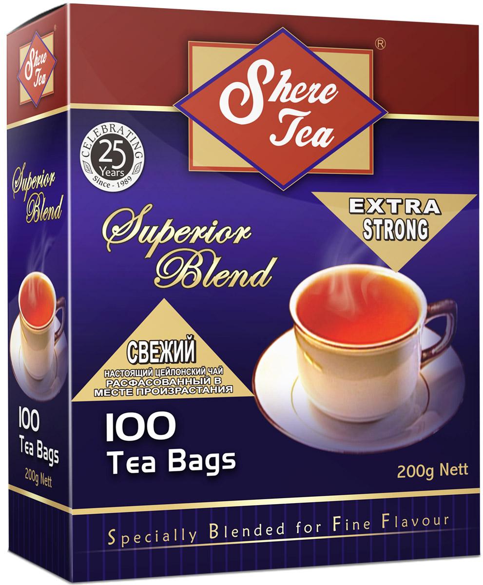Shere Tea Superior Blend чай черный в пакетиках, 100 шт4791014000617Черный мелколистовой ломаный чай в пакетиках Shere Tea Superior Blend. Чай быстро заваривается, имеет яркий, прозрачный настой с интенсивной окраской. Вкус терпкий с приятной горчинкой и хорошо выраженным ароматом. Двойные пакетики можно делить пополам, так как это позволяет регулировать крепость чая.