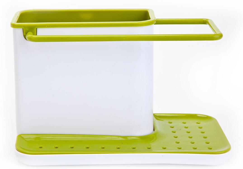 Органайзер для раковины Bradex, вертикальный, цвет: белый, зеленый391602Органайзер для раковины Bradex позволяет аккуратно хранить принадлежности для мытья посуды прямо на раковине.Имеет отсек для моющего средства и щеток, ручку для сушки тряпочек и место под губку. Не занимает много места, не портит интерьер. Легко разбирается и моется.
