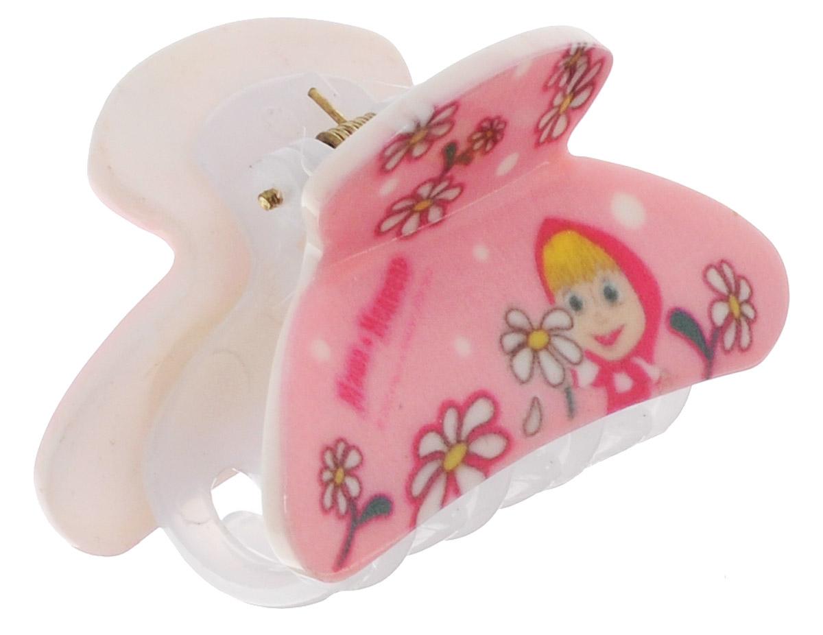 Маша и Медведь Заколка-краб для волос Ромашки цвет розовый