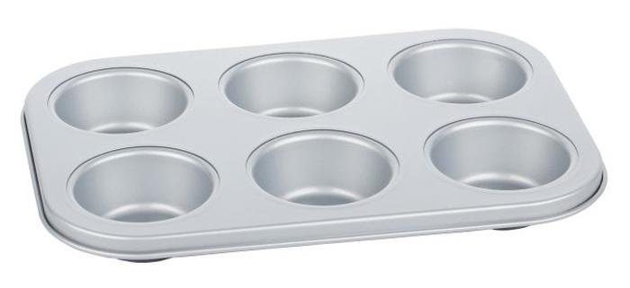 Форма для выпечки маффинов Walmer Silver, 26,5 х 18,5 х 3 см94672Круглая форма для выпечки маффинов Walmer Silver, выполненная из высококачественной углеродистой стали, гарантирует великолепный результат. Материал корпуса обеспечивает максимальную теплоотдачу, экономя время приготовления. Двухслойное антипригарное покрытие Xynflon полностью безопасно и не выделяет вредных веществ при нагреве.Форма идеально подходит для приготовления маффинов. Можно мыть в посудомоечной машине. Диаметр дна ячейки: 4,5 см. Диаметр ячейки по верхнему краю: 6,5 см. Высота ячейки: 2,5 см.
