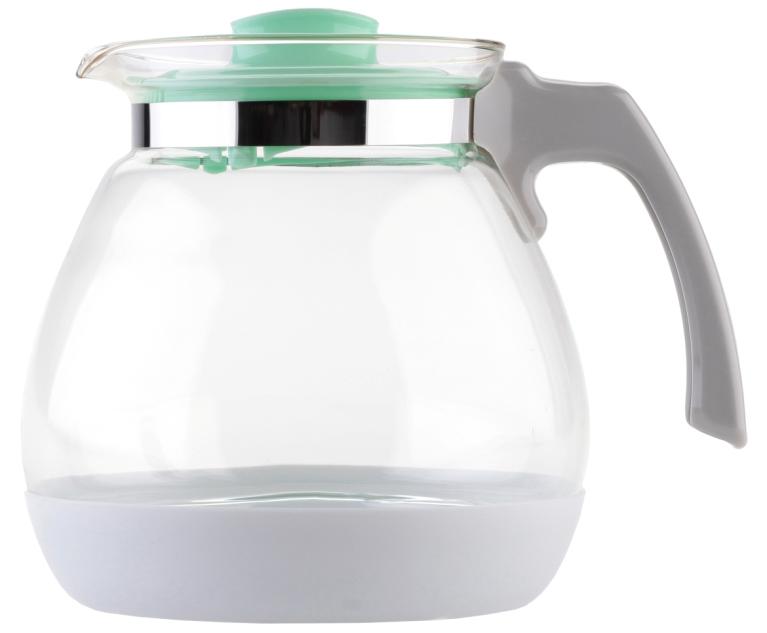 Чайник заварочный Walmer Lime, цвет: мятный, 1,7 лW15005170Заварочный чайник Walmer Lime выполнен из высококачественной стекла. Благодаря фильтру в пластиковой крышке ни чаинки, ни кусочки фруктов не попадут в чашку. Съемная пластиковая подставка защищает корпус чайника от случайных ударов о поверхность стола. Крышка закрывается плотно, вы сможете наклонять чайник как угодно, она не выпадет. Такой заварочный чайник придется по вкусу и ценителям классики, и тем, кто предпочитает утонченность и изысканность. Диаметр по верхнему краю: 10 см. Высота чайника (без учета крышки): 15,8 см. Высота чайника (с учетом крышки): 16 см.