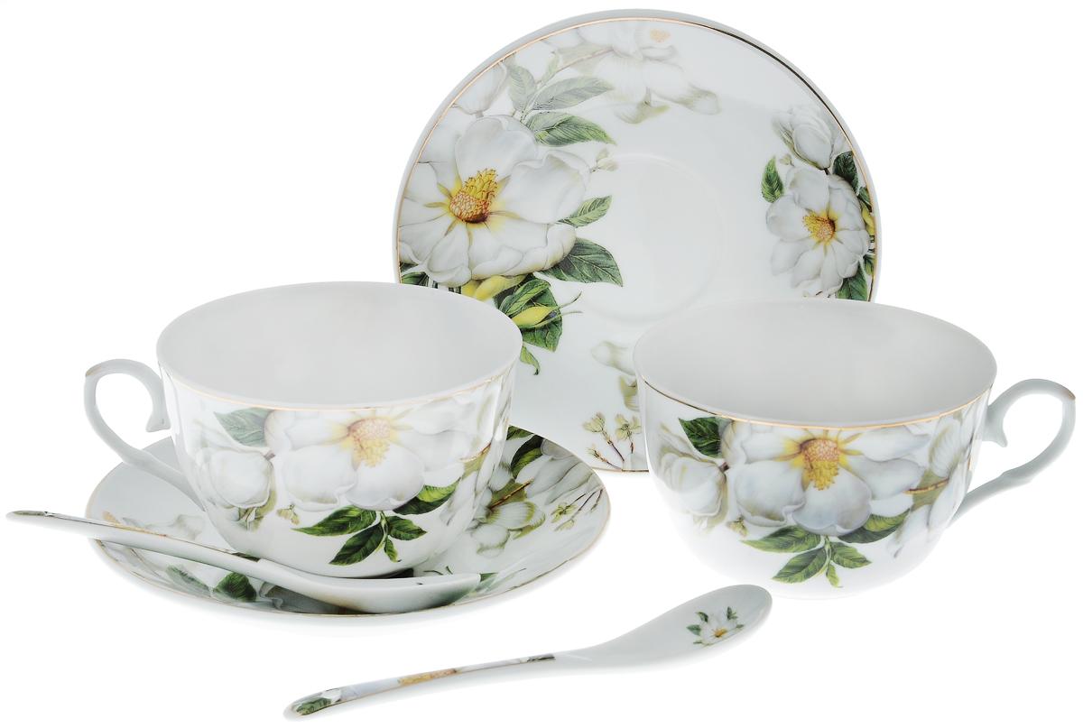 Набор чайный Elan Gallery Белый шиповник, с ложками, 6 предметов730481Чайный набор Elan Gallery Белый шиповник состоит из 2 чашек, 2 блюдец и 2 ложек. Изделия, выполненные из высококачественной керамики, имеют элегантный дизайн и классическую круглую форму. Такой набор прекрасно подойдет как для повседневного использования, так и для праздников. Чайный набор Elan Gallery Белый шиповник - это не только яркий и полезный подарок для родных и близких, а также великолепное дизайнерское решение для вашей кухни или столовой. Не использовать в микроволновой печи. Объем чашки: 250 мл. Диаметр чашки (по верхнему краю): 9,5 см. Высота чашки: 6 см. Диаметр блюдца (по верхнему краю): 14 см. Высота блюдца: 2 см. Длина ложки: 13 см.