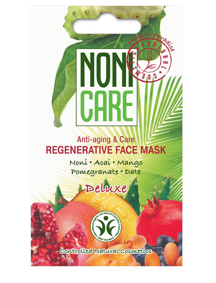 Nonicare Восстанавливающая маска для лица Deluxe - Regenerative Face Mask 11 мл4260254460241Суперпитательная кремовая маска для интенсивного восстановления и «оживления» кожи с признаками стресса и увядания. Обладает омолаживающим действием. Маска является незаменимым средством для восстановления кожи после воздействия окружающей среды: мороз, солнце, ветер, а также для восстановления кожи после пилингов и солярия.Коктейль из соков экзотических растений, богатый витаминами (A, B1, B2, C), микроэлементами, полисахаридами и флавоноидами, активизирует внутренние процессы регенерации. Маска укрепляет сосуды и стимулирует выработку гиалуроновой кислоты, коллагена и эластина, что способствует уменьшению выраженности купероза и морщин. AHA кислоты, входящие в состав фруктов, улучшают проникновение активных компонентов в глубокие слои кожи. Средство устраняет сухость, стянутость, интенсивно питает. Кожа безупречна. Становится более эластичной, гладкой и сияющей, морщинки и мимические линии менее заметны. Текстура кожи заметно улучшается. При регулярном использовании кожа...