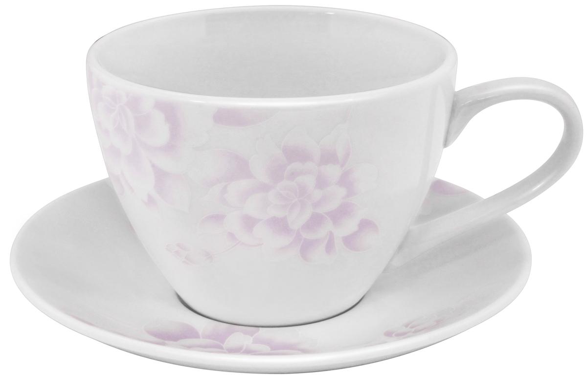 Чайная пара Esprado Peonies, 315 мл115610Чайная пара Esprado Peonies состоит из чашки и блюдца, изготовленных из костяного фарфора высшего качества, отличающегося необыкновенной прочностью и небольшим весом. Яркий дизайн, несомненно, придется вам по вкусу.Чайная пара Peonies украсит ваш кухонный стол, а также станет замечательным подарком к любому празднику.
