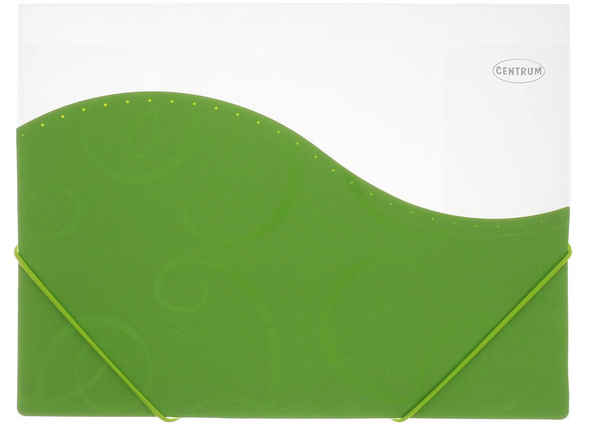 Centrum Папка на резинке цвет зеленый83626_зеленыйПапка на резинке Centrum - это удобный и функциональный офисный инструмент, предназначенный для хранения и транспортировки большого объема рабочих бумаг и документов формата А4. Папка с двойной угловой фиксацией резиновой лентой изготовлена из прочного высококачественного пластика. Она состоит из одного вместительного отделения с прозрачными пластиковыми разделителями. Уголки имеют закругленную форму, что предотвращает их загибание и помогает надолго сохранить опрятный вид обложки. Папка оформлена вставкой из непрозрачного пластика с оригинальным орнаментом. Папка-конверт - это незаменимый атрибут для студента, школьника, офисного работника. Она надежно сохранит ваши документы и сбережет их от повреждений, пыли и влаги.