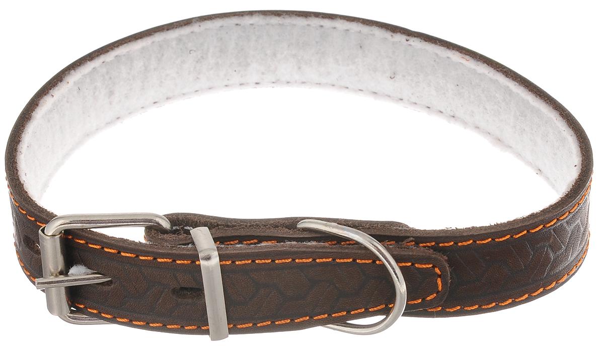 Ошейник для собак Каскад Классика, цвет: темно-коричневый, ширина 2,5 см, обхват шеи 39-46 см. 00025082к водонагреватель проточный atmor basic 5квт кухня