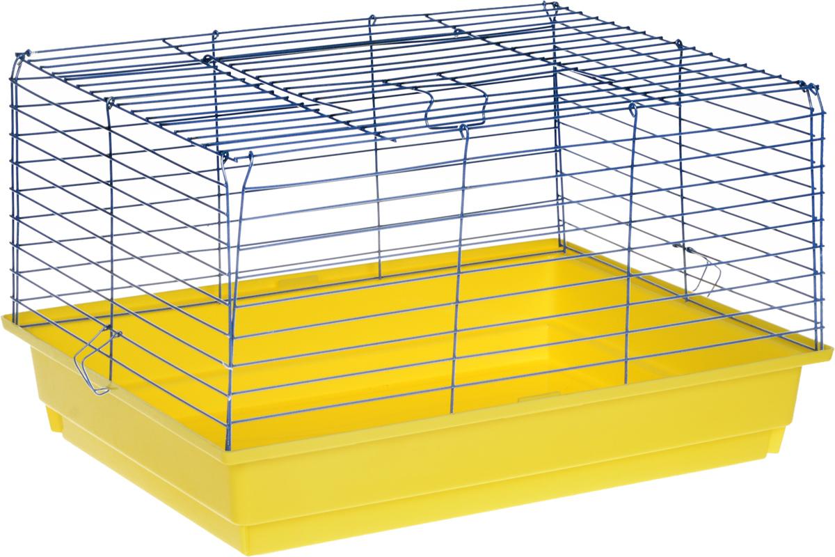 Клетка для кролика ЗооМарк, цвет: желтый поддон, синяя решетка, 60 х 40 х 35 см620_желтый, синийКлассическая клетка ЗооМарк со сплошным дном станет уединенным личным пространством и уютным домиком для кролика. Изделие выполнено из металла и пластика. Клетка надежно закрывается на защелки. Легко чистится. Для более удобной транспортировки клетку можно сложить.