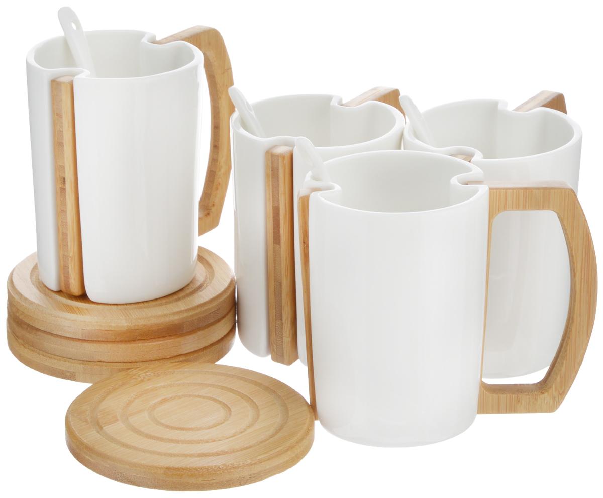 Набор чайный EcoWoo, 8 предметов. 2012248U2012248UНабор чайный EcoWoo - это не только идеальный подарок, но и прекрасный повод побаловать себя! Набор состоит из 4 фарфоровых кружек со съемными ручками и 4 бамбуковых подставок. Такой набор станет идеальным решением для ценителей экологичных деталей в интерьере и поклонников здорового образа жизни. Не использовать в посудомоечной машине. Объем кружки: 280 мл. Диаметр кружки (по верхнему краю): 7,5 см. Высота кружки: 10 см. Диаметр подставки: 10 см.