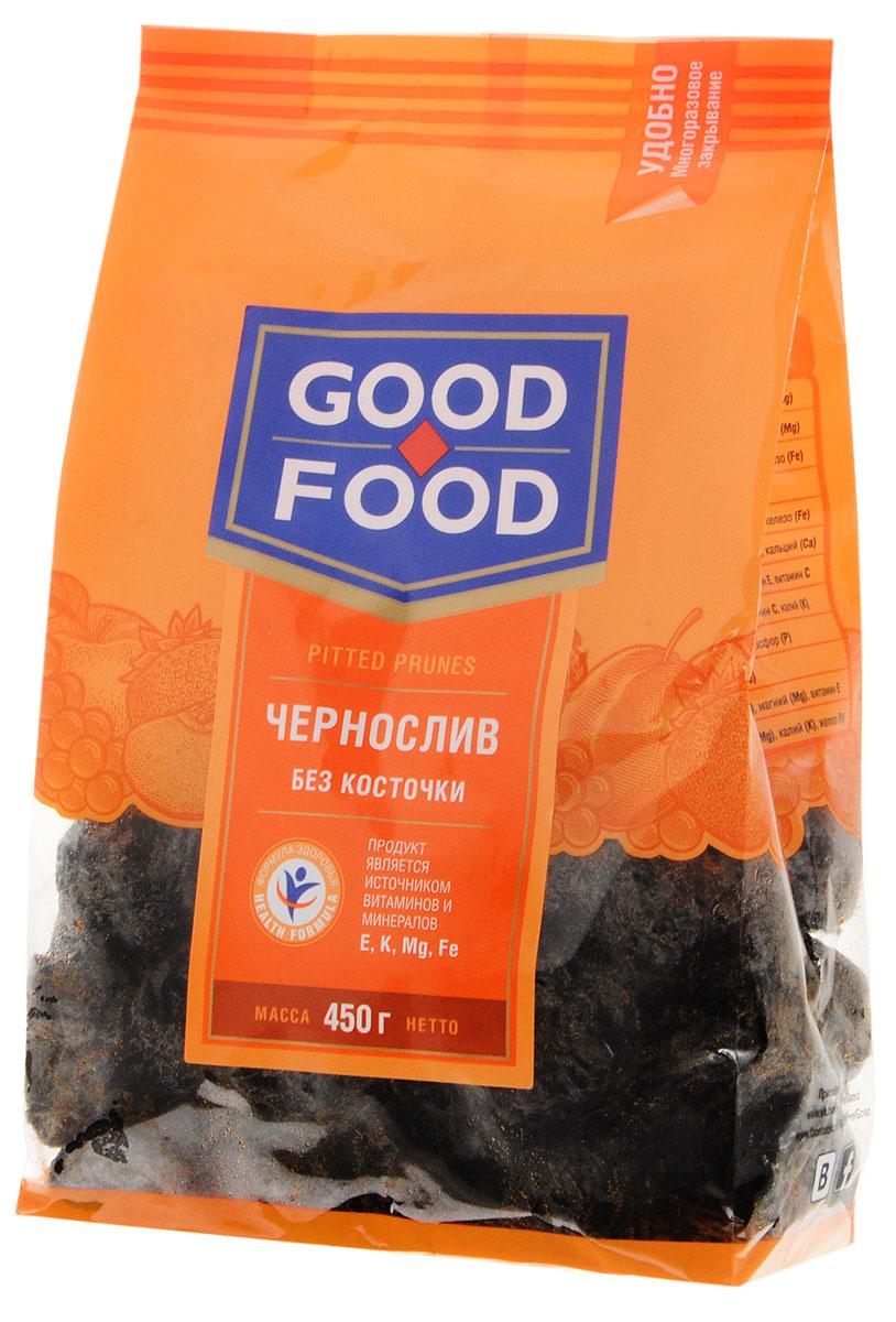 Good Food черносливсушеный без косточки,450г0120710Чернослив является самым популярным и потребляемым из всех известных нам сухофруктов. Пользу организму чернослив оказывает благодаря содержащимся в его составе пектиновым веществам, растительной клетчатке, органическим кислотам, сахару. Сухофрукт богат витаминами В1, В2, С, РР, провитамином А, содержит калий, натрий, магний, фосфор, железо. Улучшает работу желудка и кишечника. Придает коже гладкость и эластичность и предотвращает появление преждевременных морщин.