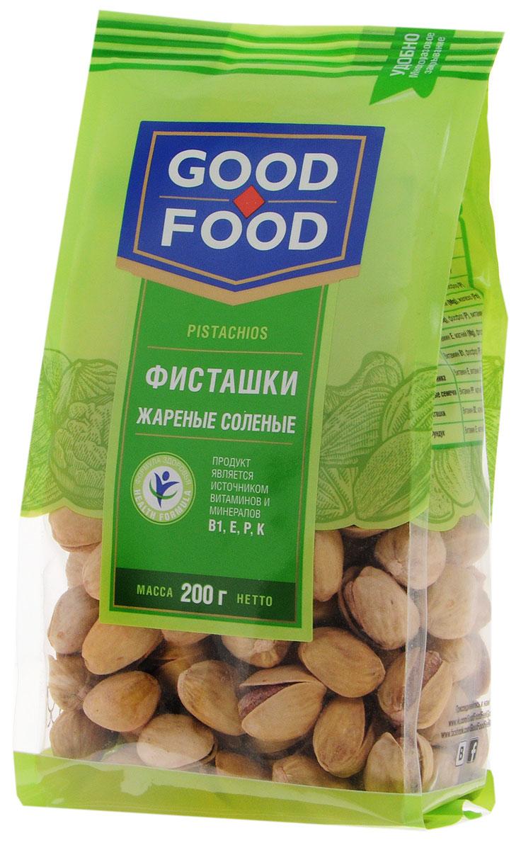 Good Food фисташки жареные соленые, 200 г4620000677239Дерево жизни, орехи счастья - так по-другому называют фисташки, обладающие тонким оригинальным вкусом и массой полезных свойств. Польза фисташек для человеческого организма неоценима, достаточно взглянуть на перечень полезных веществ, которые содержат эти орехи, чтобы в этом убедиться: витамины группы А (лютеин, зеаксантин), В (В1, В9, В6), Е, медь, марганец, фосфор, калий, магний, железо и многое другое. Фисташки Good Food обладают сбалансированным вкусом благодаря равномерной прожарке и оптимальному количеству соли.