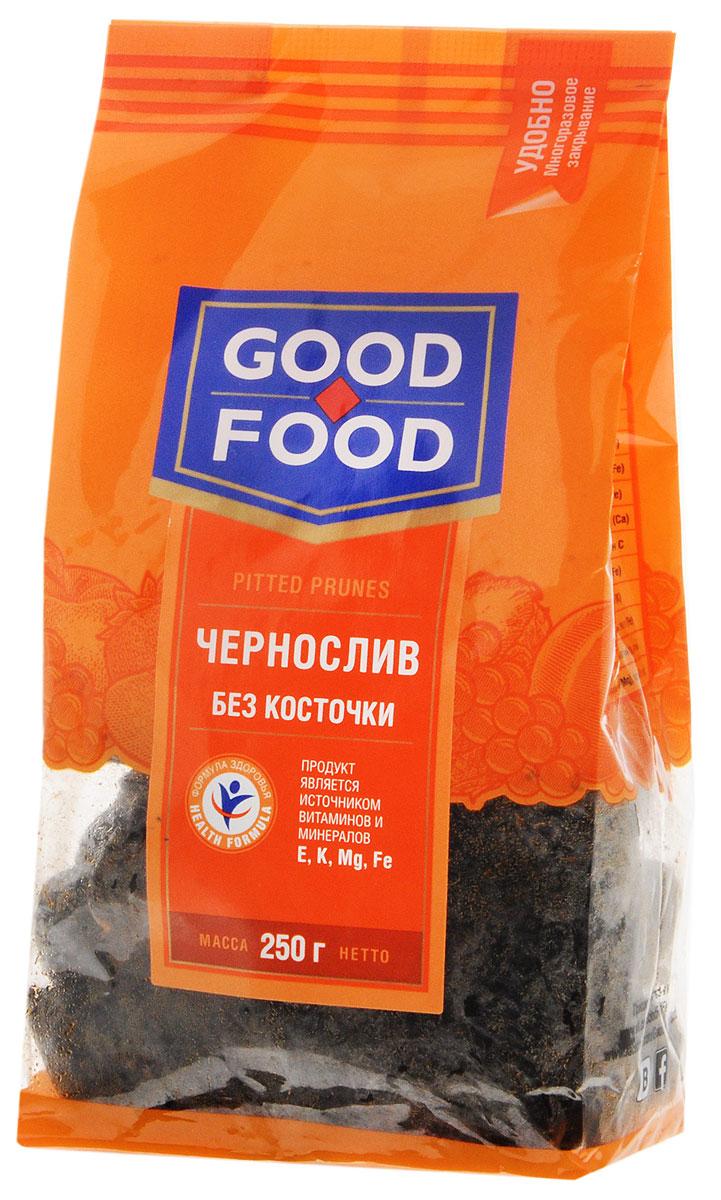 Good Food чернослив сушеный без косточки, 250 г4620000675778Чернослив является самым популярным и потребляемым из всех известных нам сухофруктов. Пользу организму чернослив оказывает благодаря содержащимся в его составе пектиновым веществам, растительной клетчатке, органическим кислотам, сахару. Сухофрукт богат витаминами В1, В2, С, РР, провитамином А, содержит калий, натрий, магний, фосфор, железо. Улучшает работу желудка и кишечника. Придает коже гладкость и эластичность и предотвращает появление преждевременных морщин.