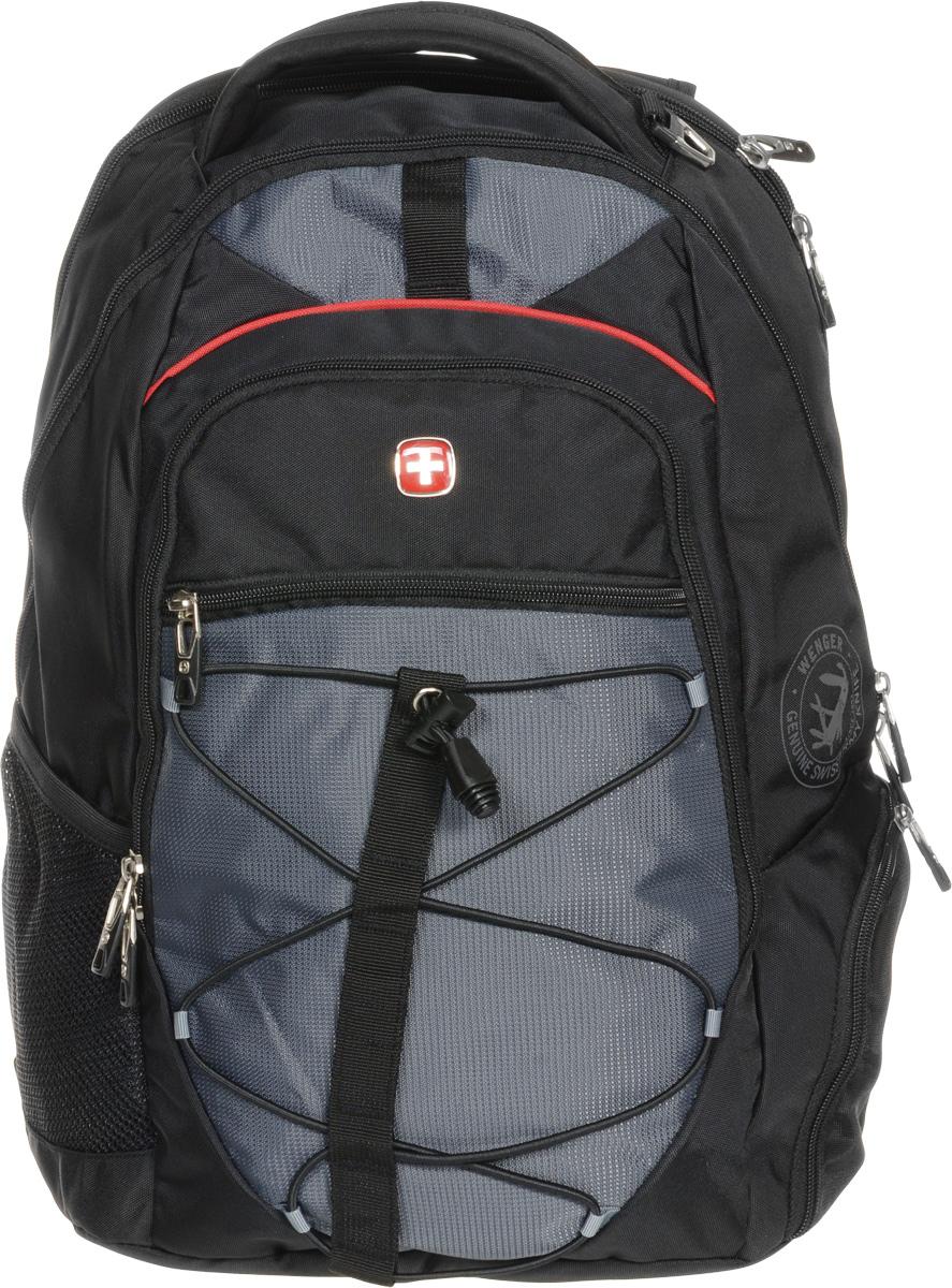 Рюкзак городской Wenger, цвет: черный, серый, 34 x 19 x 46 см, 30 л6772204408Высококачественный и стильный, надежный и удобный, а главное прочный рюкзак Wenger. Благодаря многофункциональности данный рюкзак позволяет удобно и легко укладывать свои вещи. Особенности рюкзака: 1 внешний боковой карман на молнии с вентиляцией. 1 внешний сетчатый карман для бутылки с водой. 2 внешних кармана на молнии. Большое основное отделение. Внешнее металлическое кольцо. Внешний стягивающий резиновый шнур. Внутренний карабин для ключей. Внутренний сетчатый карман на молнии для хранения аксессуаров ноутбука. Карман для планшетного компьютера с диагональю до 38 см. Карман-органайзер для мелких предметов. Малое дополнительное отделение. Металлические застежки молний с пластиковыми вставками. Мягкая ручка для переноски. Отделение для 15 ноутбука на липучке. Петля для очков. Регулируемые плечевые ремни. Эргономичная спинка с системой циркуляции воздуха Airflow.