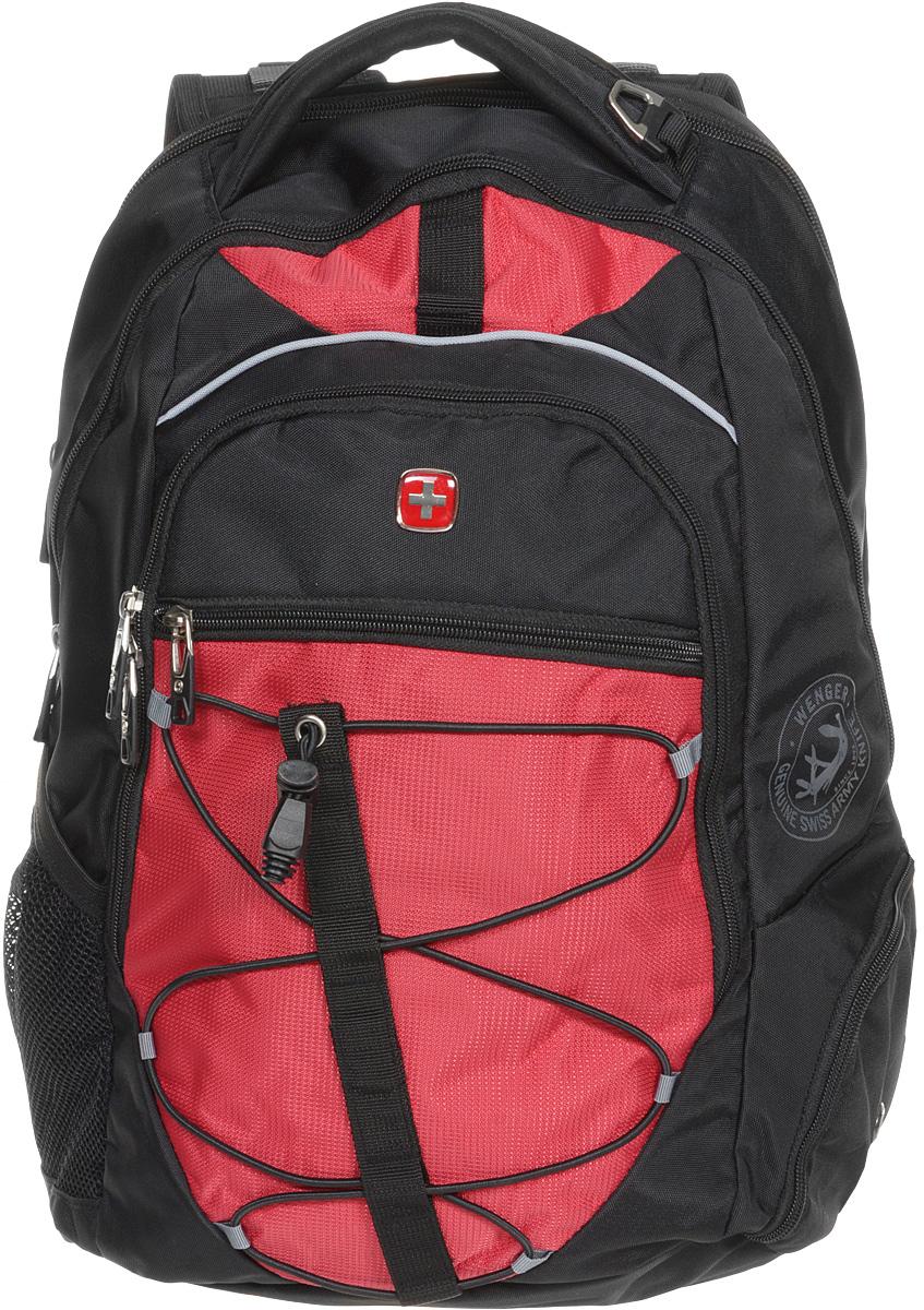Рюкзак городской Wenger, цвет: черный, красный, 34 x 19 x 46 см, 30 л6772201408Высококачественный и стильный, надежный и удобный, а главное прочный рюкзак Wenger. Благодаря многофункциональности данный рюкзак позволяет удобно и легко укладывать свои вещи. Особенности рюкзака: 1 внешний боковой карман на молнии с вентиляцией. 1 внешний сетчатый карман для бутылки с водой. 2 внешних кармана на молнии. Большое основное отделение. Внешнее металлическое кольцо. Внешний стягивающий резиновый шнур. Внутренний карабин для ключей. Внутренний сетчатый карман на молнии для хранения аксессуаров ноутбука. Карман для планшетного компьютера с диагональю до 38 см. Карман-органайзер для мелких предметов. Малое дополнительное отделение. Металлические застежки молний с пластиковыми вставками. Мягкая ручка для переноски. Отделение для 15 ноутбука на липучке. Петля для очков. Регулируемые плечевые ремни. Эргономичная спинка с системой циркуляции воздуха Airflow.