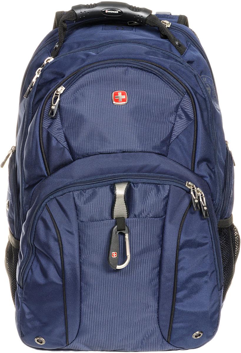 Рюкзак городской Wenger, цвет: черный, синий, 34 x 16 x 48 см, 26 л3253303408Городской рюкзак Wenger выполнен из прочного полиэстера. Он имеет отделение для ноутбука с мягкими стенками, подходит для большинства ноутбуков с диагональю экрана до 15. Карман для планшетного компьютера с мягкими стенками обеспечивает безопасную и удобную переноску. Карман-органайзер для мелких предметов с ключницей, кармашками для ручек, мобильного телефона и карты памяти. Стягивающие боковые ремни позволяют регулировать объем рюкзака, а также ужимать багаж. Эргономичные плечевые ремни анатомической формы с пропускающей воздух подкладкой обеспечивают удобную переноску. Спинка имеет специальную рельефную анатомическую поверхность и оснащена системой циркуляции воздуха Airflow. Карман из специальной эластичной сетки подходит для бутылок любого размера. Особенности рюкзака: 2 внешних боковых кармана на молнии с вентиляцией 2 внешних кармана на молнии 2 внешних сетчатых кармана для бутылок с водой Большое основное отделение Внешний карабин ...