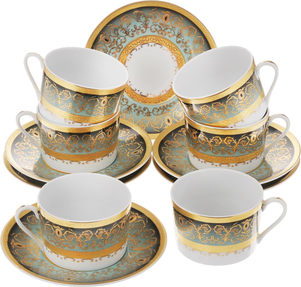 Набор чайный Yves De La Rosiere Mimosa, цвет: зеленый, золотистый, 12 предметов539506 1643Чайный набор Yves De La Rosiere Mimosa состоит из 6 чашек и 6 блюдец, изготовленных из высококачественного фарфора. Такой набор прекрасно дополнит сервировку стола к чаепитию, а также станет замечательным подарком для ваших друзей и близких. Объем чашки: 220 мл. Диаметр чашки по верхнему краю: 9 см. Высота чашки: 6 см. Диаметр блюдца: 16 см. Высота блюдца: 2 см.
