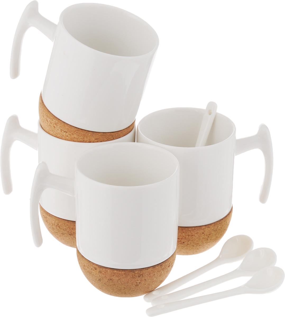 Набор чайный EcoWoo, 8 предметов115610Набор чайный EcoWoo - это не только идеальный подарок, но и прекрасный повод побаловать себя! Набор состоит из 4 фарфоровых кружек с пробковым основанием и 4 ложек.Такой набор станет идеальным решением для ценителей экологичных деталей в интерьере и поклонников здорового образа жизни.Не использовать в посудомоечной машине.Объем кружки: 280 мл.Диаметр кружки (по верхнему краю): 7,5 см.Высота кружки: 10,5 см.Длина ложки: 11,5 см.
