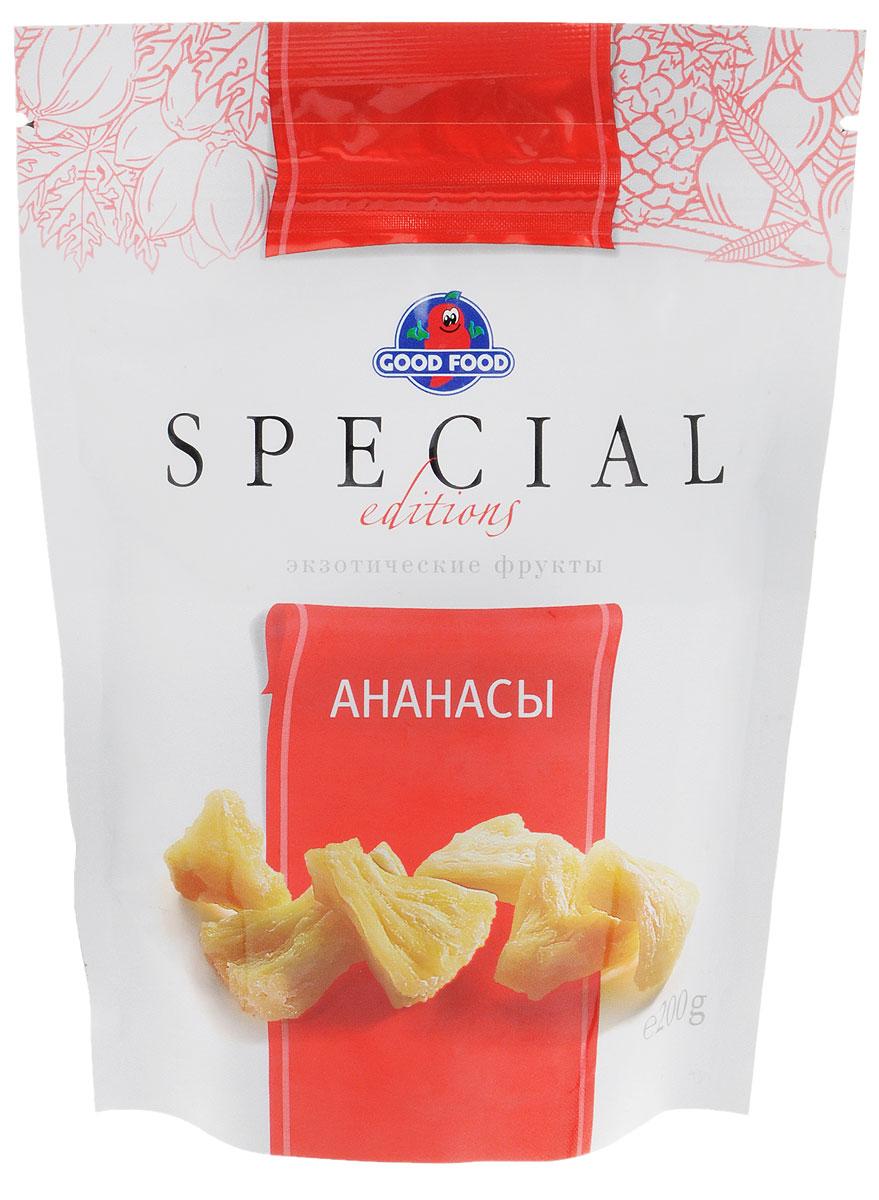 Good Food Special ананасы сушеные, 200 г4620000673248Попробуйте ананасы Good Food Special и вы получите не только удовольствие от вкуса, но и внесете разнообразие в свой ежедневный рацион, а самое главное, поддержите силы своего организма. Количество добавленного сахара в них почти в 4 раза меньше, чем в обычных цукатах. Благодаря этой технологии во фруктах сохранена нежность текстуры, природная сладость без вреда для фигуры и здоровья.