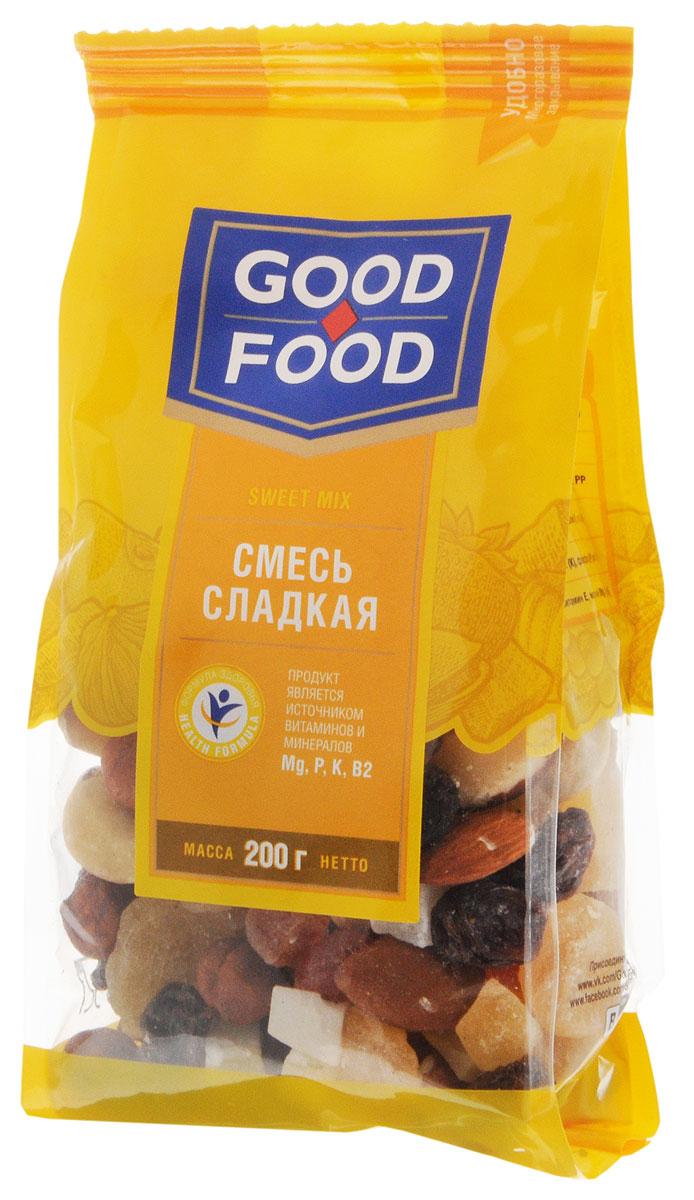 Good Food смесь сладкая, 200 г4620000677253Смесь Сладкая Good Food содержит в себе ананас, бразильский орех, изюм Томпсон джамбо, кешью сушеный, кокос кубиками, миндаль сушеный, папайю кубиками и сушеный фундук. Притупляет чувство голода. Оказывает защитное действие от различных инфекций.