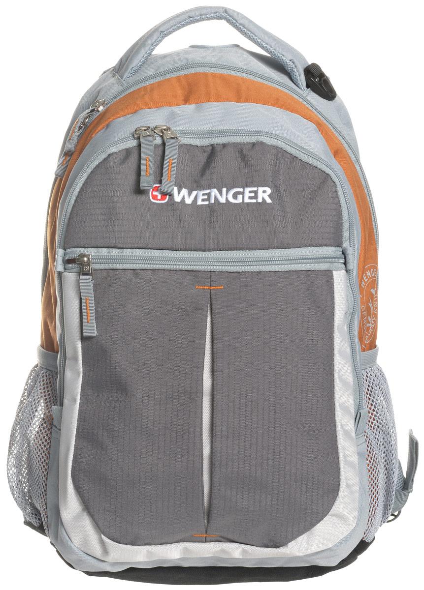 Рюкзак городской Wenger Montreux, цвет: серый, оранжевый, 22 лRivaCase 7560 blueВысококачественный и стильный, надежный и удобный, а главное прочный рюкзак Wenger Montreux. Благодаря своей многофункциональности данный рюкзак позволяет удобно и легко укладывать свои вещи. Для ноутбука есть специальное мягкое отделение под спинкой. А для мелочей, типа ключей, ручек, мобильного телефона и др. имеется карман-органайзер. Рюкзак изготовлен из прочных, современных материалов и надежной, стильной фурнитуры. Современные технологии и продуманная конструкция обеспечивают рюкзаку удобство и надежность.