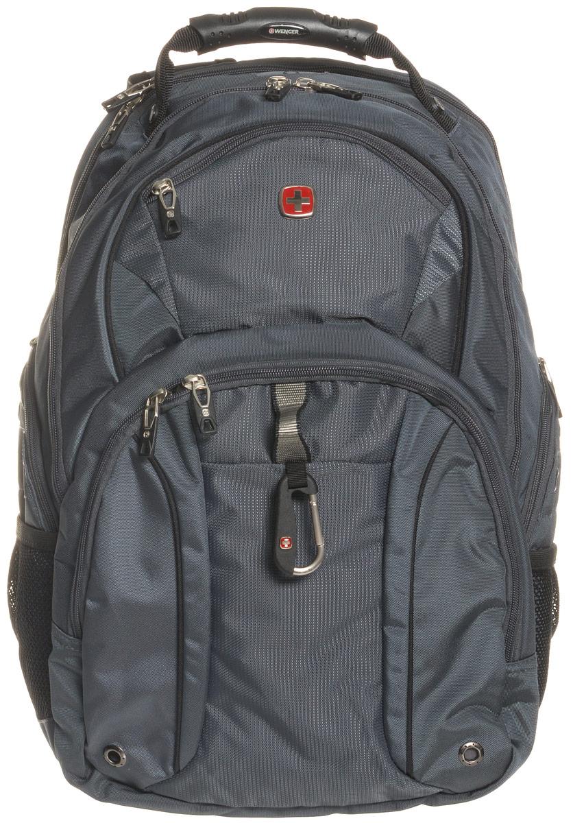 Рюкзак городской Wenger, цвет: серый, серебристый, 34 x 16 x 48 см, 26 лH009Городской рюкзак Wenger выполнен из прочного полиэстера. Он имеет отделение для ноутбука с мягкими стенками, подходит для большинства ноутбуков с диагональю экрана до 15. Карман для планшетного компьютера с мягкими стенками обеспечивает безопасную и удобную переноску. Карман-органайзер для мелких предметов с ключницей, кармашками для ручек, мобильного телефона и карты памяти. Стягивающие боковые ремни позволяют регулировать объем рюкзака, а также ужимать багаж. Эргономичные плечевые ремни анатомической формы с пропускающей воздух подкладкой обеспечивают удобную переноску. Спинка имеет специальную рельефную анатомическую поверхность и оснащена системой циркуляции воздуха Airflow. Карман из специальной эластичной сетки подходит для бутылок любого размера.Особенности рюкзака:2 внешних боковых кармана на молнии с вентиляцией 2 внешних кармана на молнии 2 внешних сетчатых кармана для бутылок с водой Большое основное отделение Внешний карабин Внутренний карабин для ключей Возможность крепления на чемодане Карман для планшетного компьютера с диагональю до 38 см Карман-органайзер для мелких предметов Металлические застежки молний с пластиковыми вставками Отделение на липучке для ноутбука 15 с системой ScanSmart Петля для очков Регулировка крепления липучки по вертикали Регулируемые плечевые ремни Ручка с прочным кожухом для переноски Внутренний сетчатый карман на молнии для хранения аксессуаров ноутбука Эргономичная спинка с системой циркуляции воздуха Airflow.