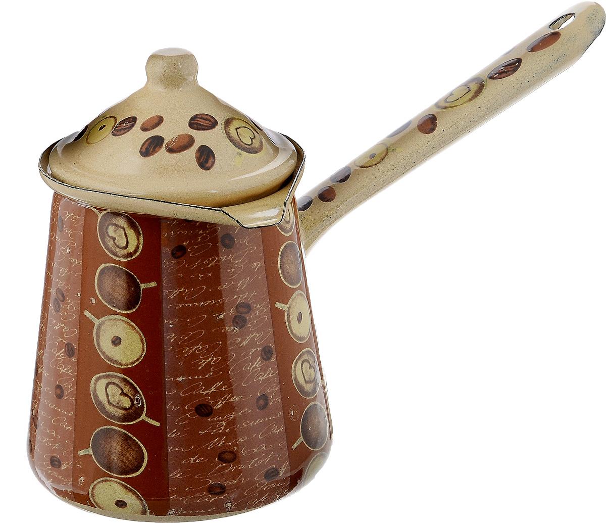 Турка Calve, с крышкой, цвет: бежевый, коричневый, 700 млCL-7001_бежевыйТурка Calve, изготовленная из высококачественной стали, предназначена для приготовления кофе. Внешние стенки турки оформлены изящным рисунком с изображением кофейных зерен. Изделие имеет широкое горлышко, специальный носик и крышку. Рукоятка снабжена специальным отверстием, благодаря которому изделие можно подвесить на крючок. Кофе в турке варится очень просто. Насыпьте молотый кофе, залейте водой и варите на слабом огне, не доводя до кипения. Чем дольше кофе варить, тем крепче он становится. Подходит для всех видов плит, включая индукционные. Диаметр турки (по верхнему краю): 9,5 см. Длина ручки: 14,5 см. Высота стенки: 12,5 см.